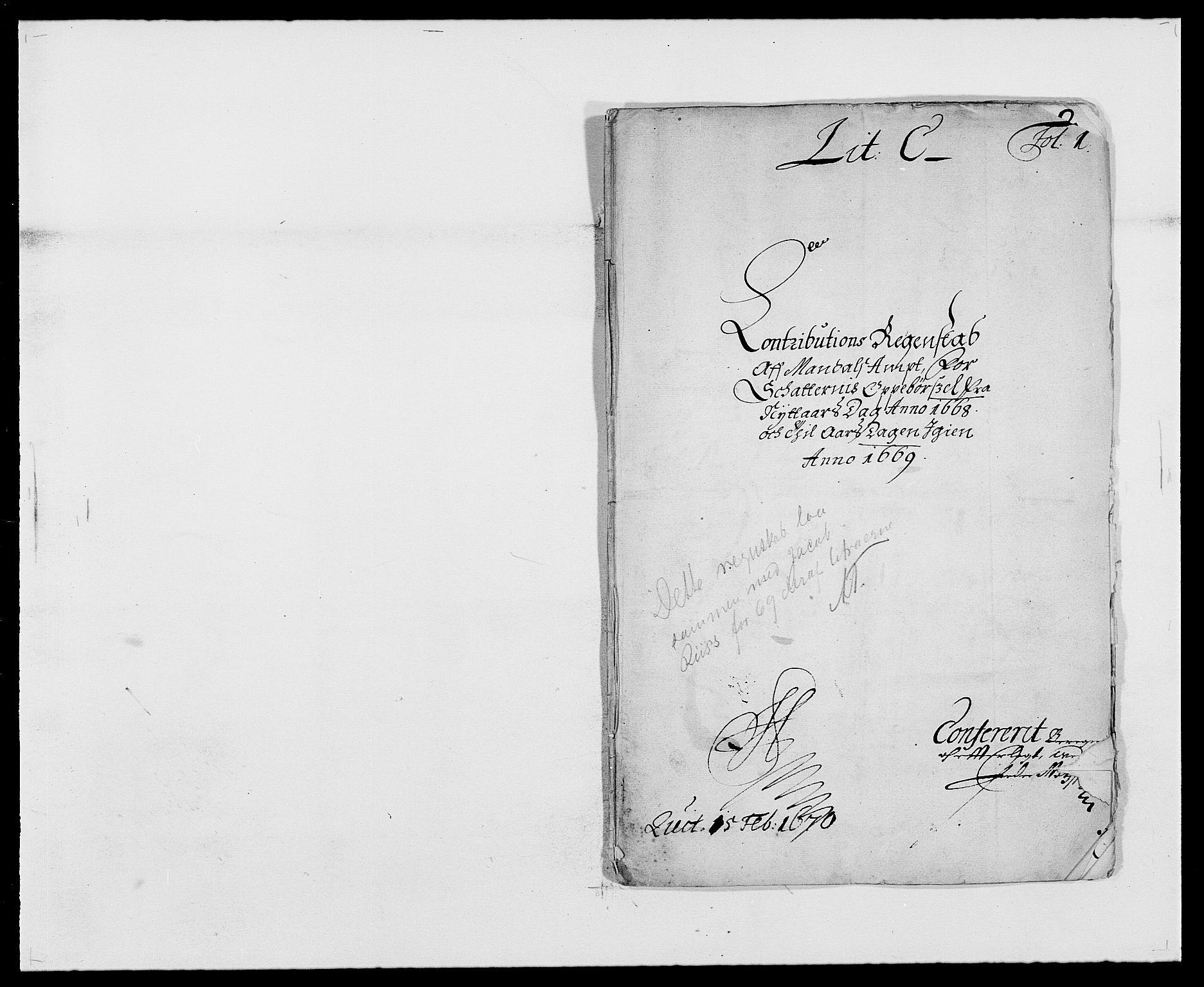 RA, Rentekammeret inntil 1814, Reviderte regnskaper, Fogderegnskap, R42/L2538: Mandal fogderi, 1667-1670, s. 60