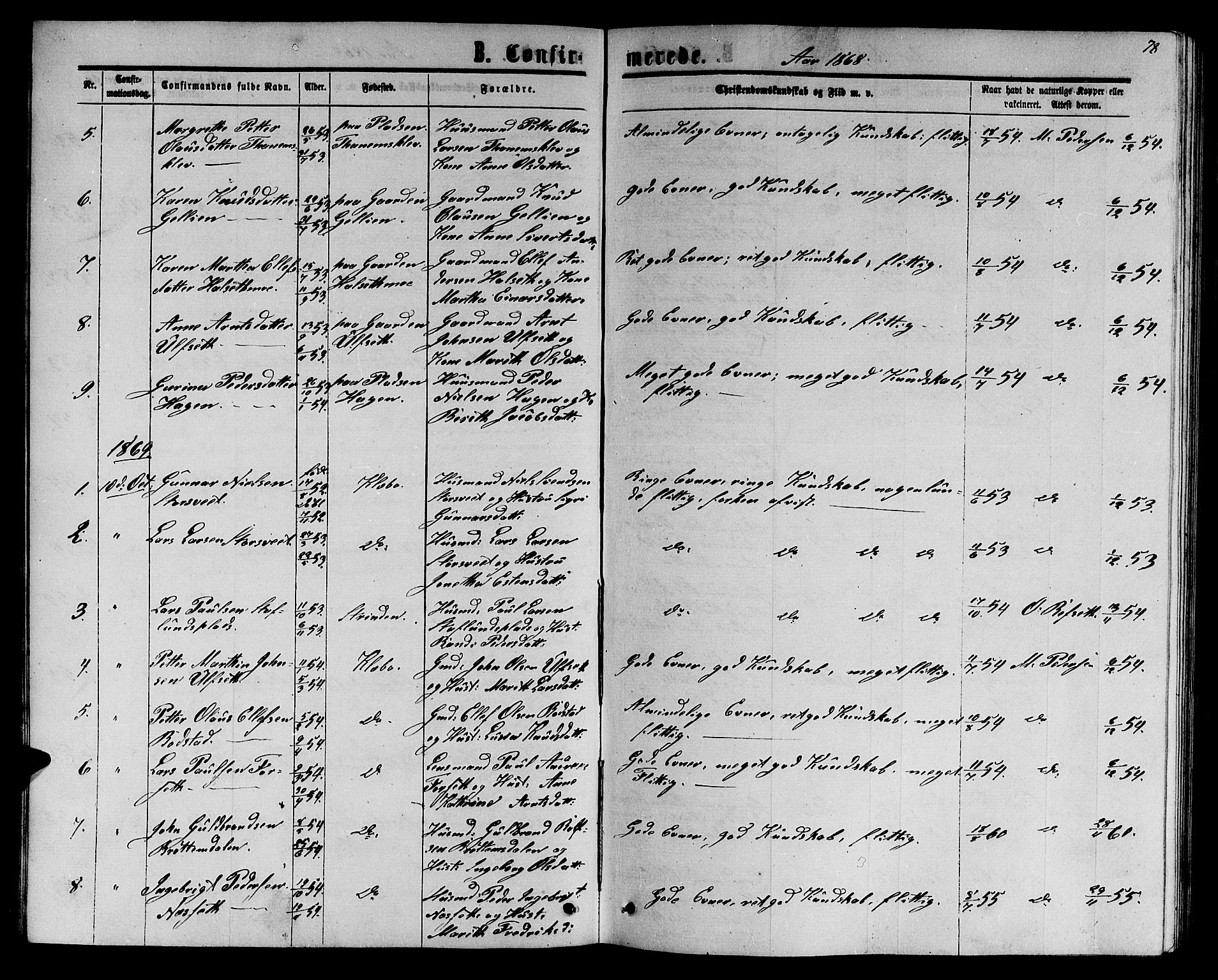 SAT, Ministerialprotokoller, klokkerbøker og fødselsregistre - Sør-Trøndelag, 618/L0451: Klokkerbok nr. 618C02, 1865-1883, s. 78