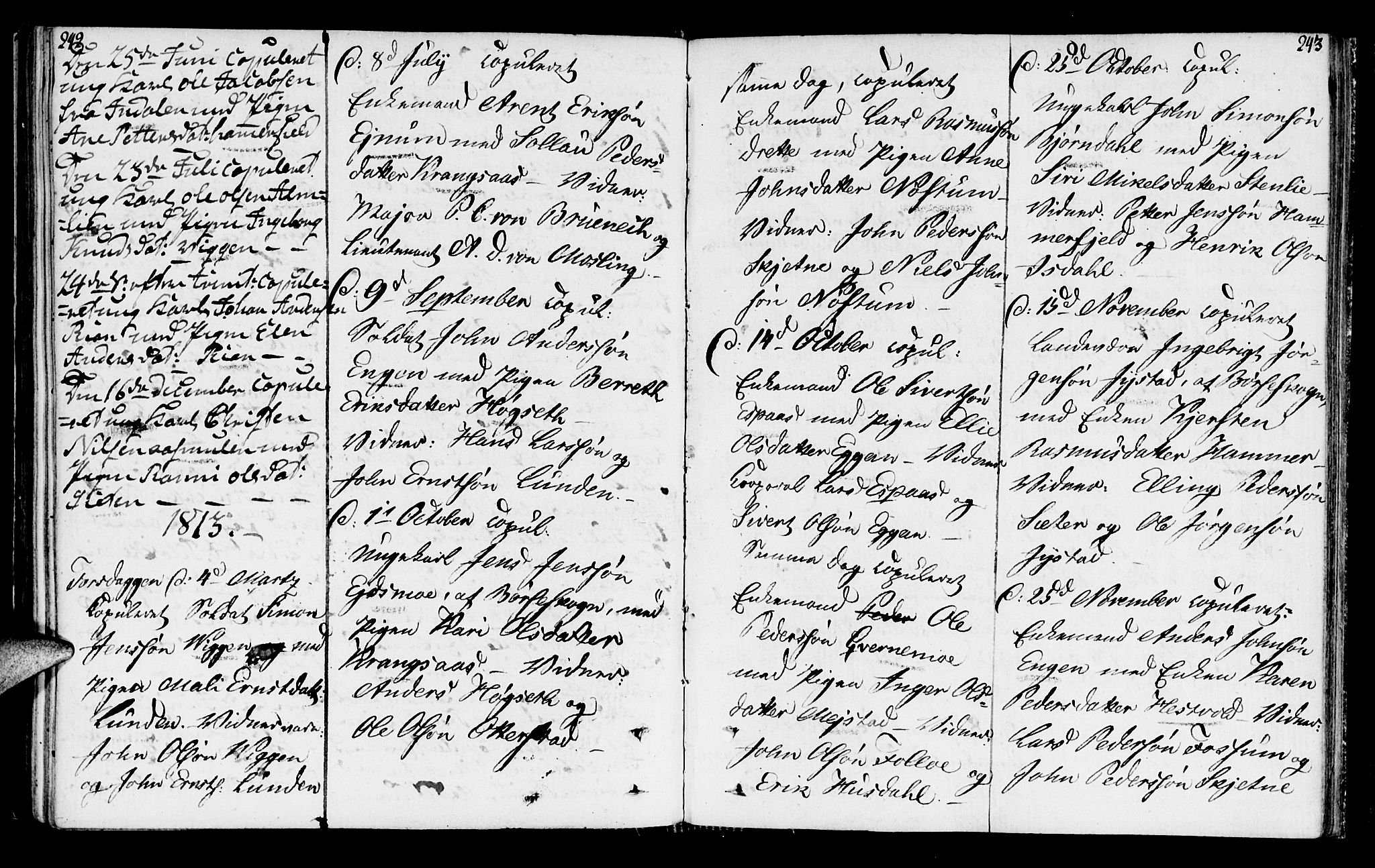 SAT, Ministerialprotokoller, klokkerbøker og fødselsregistre - Sør-Trøndelag, 665/L0769: Ministerialbok nr. 665A04, 1803-1816, s. 242-243