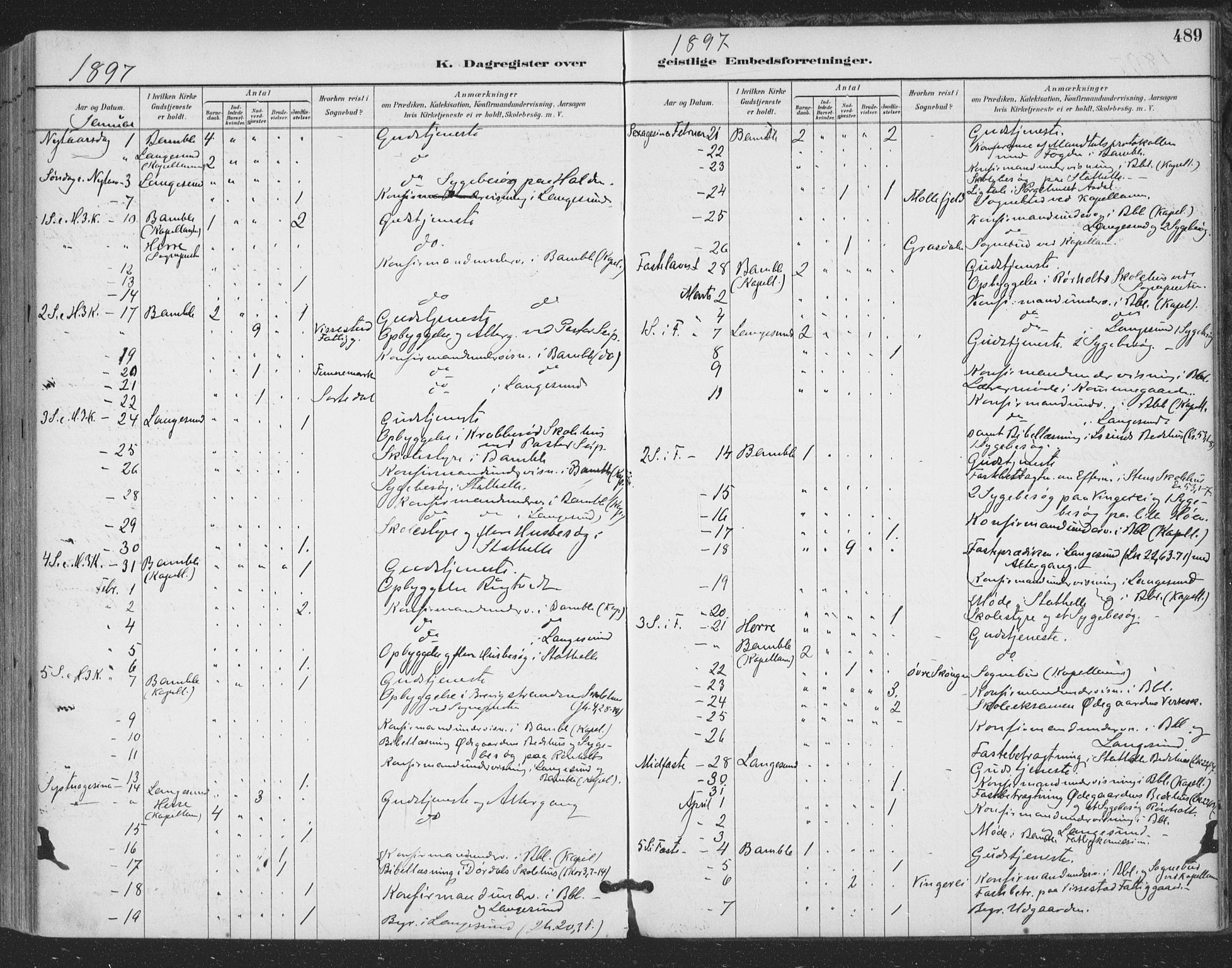 SAKO, Bamble kirkebøker, F/Fa/L0008: Ministerialbok nr. I 8, 1888-1900, s. 489