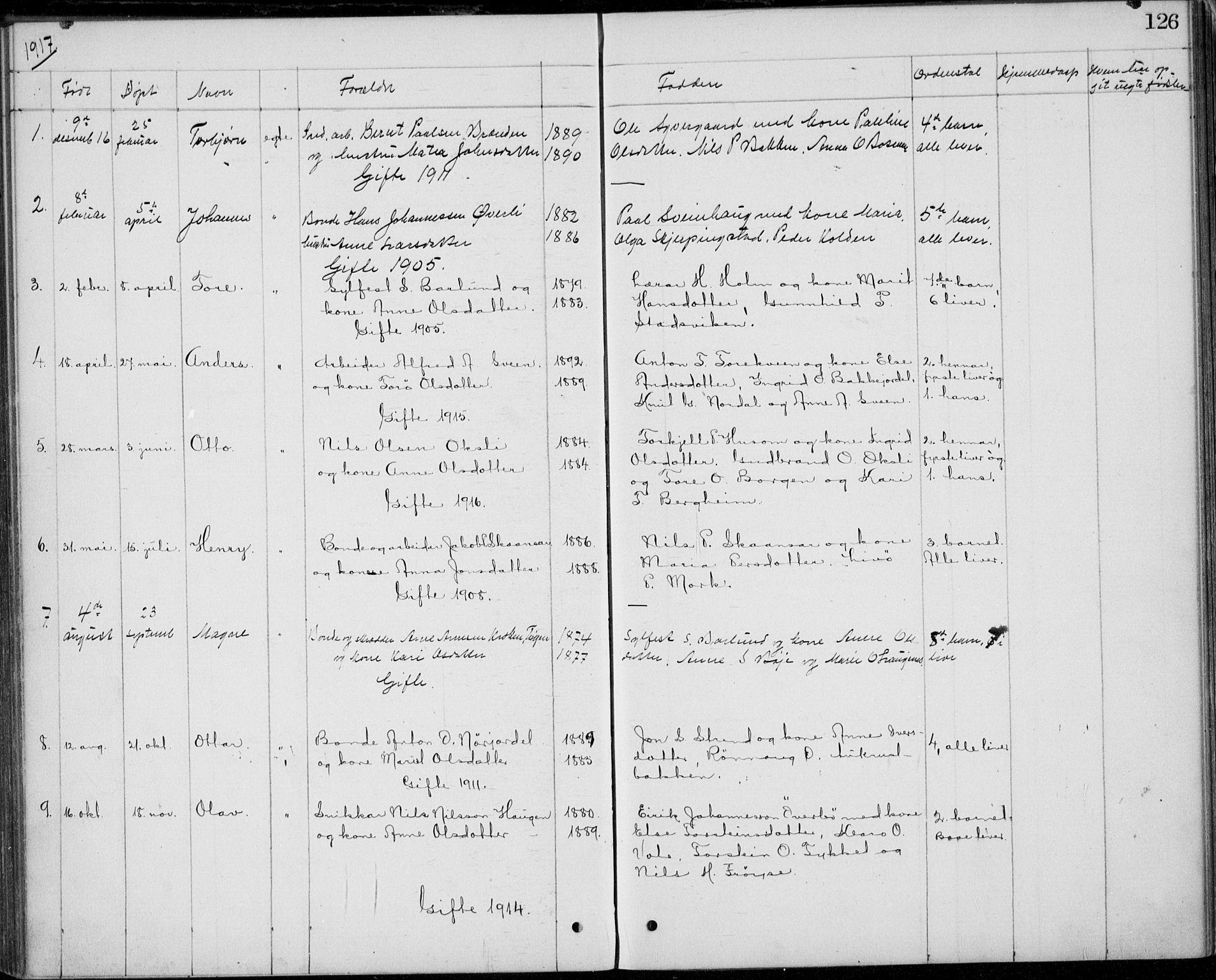 SAH, Lom prestekontor, L/L0013: Klokkerbok nr. 13, 1874-1938, s. 126
