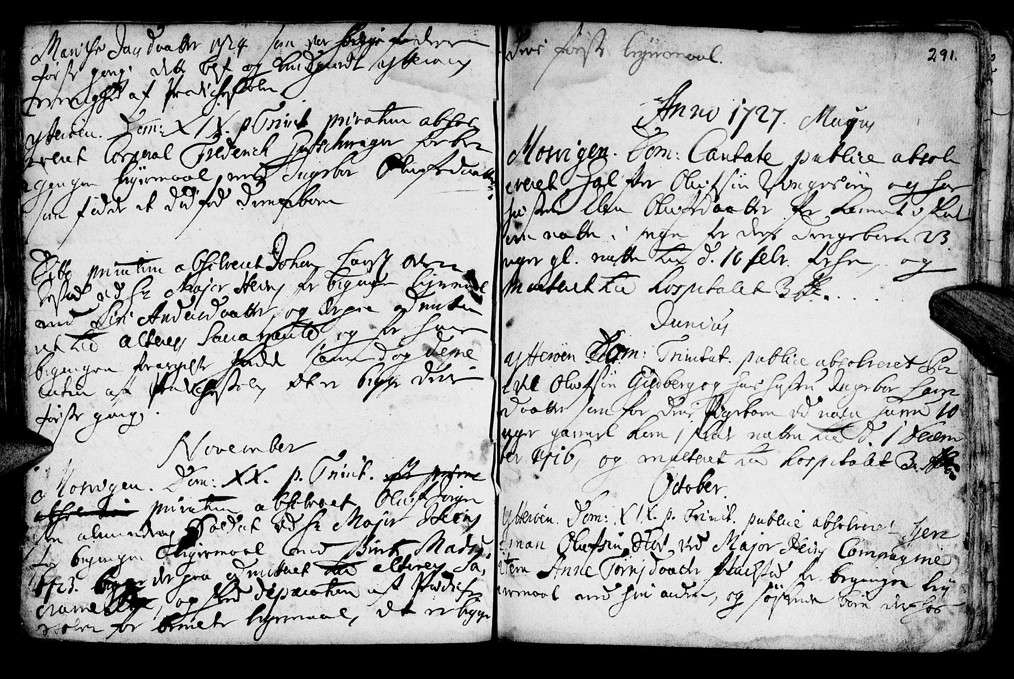 SAT, Ministerialprotokoller, klokkerbøker og fødselsregistre - Nord-Trøndelag, 722/L0215: Ministerialbok nr. 722A02, 1718-1755, s. 291