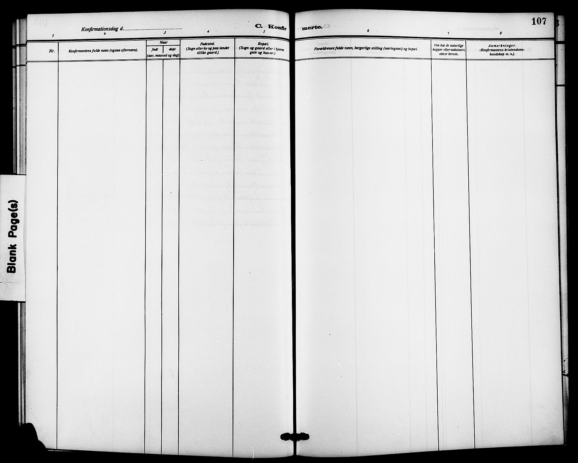 SAKO, Bø kirkebøker, G/Ga/L0007: Klokkerbok nr. 7, 1909-1924, s. 107