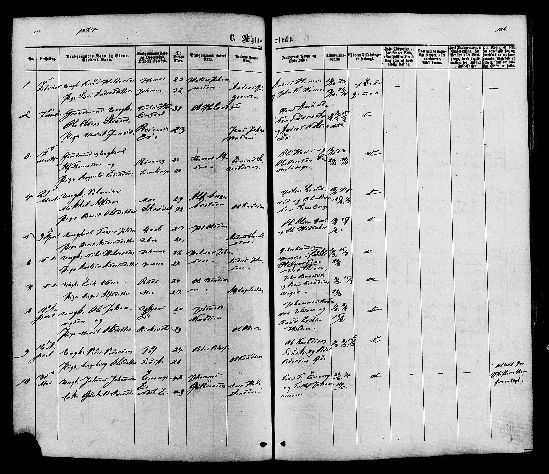 SAH, Vestre Slidre prestekontor, Ministerialbok nr. 3, 1865-1880, s. 186