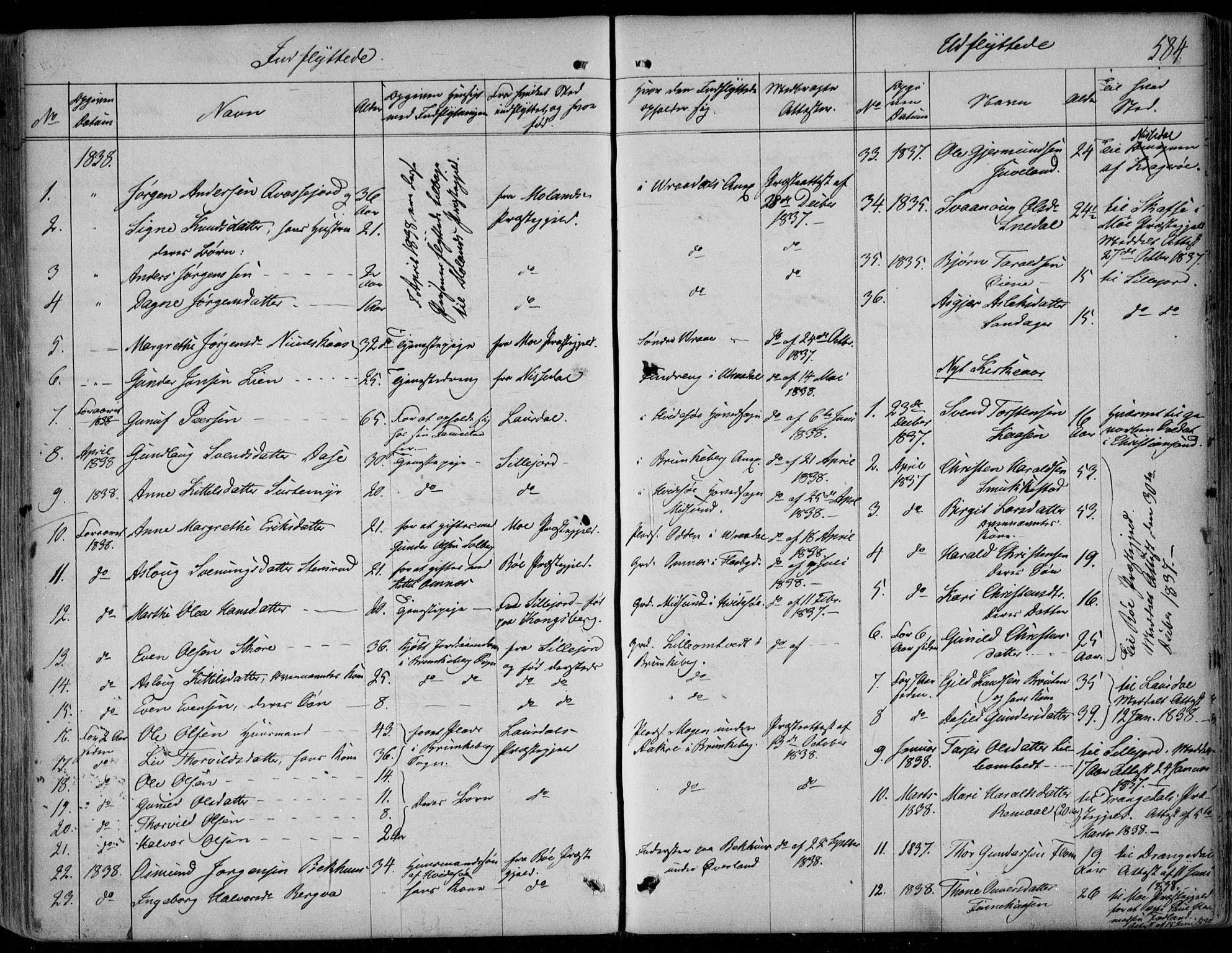SAKO, Kviteseid kirkebøker, F/Fa/L0006: Ministerialbok nr. I 6, 1836-1858, s. 584