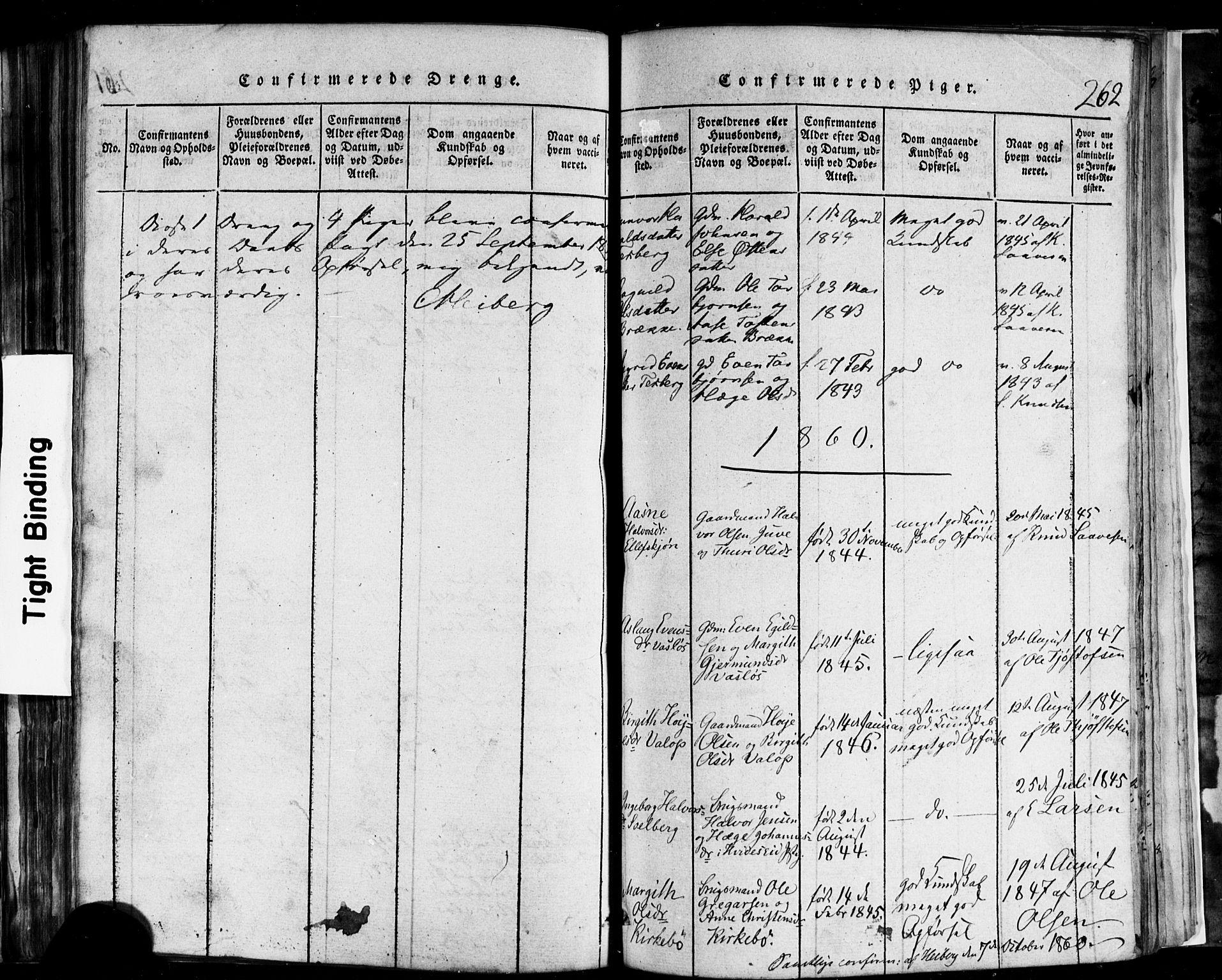 SAKO, Rauland kirkebøker, F/Fa/L0002: Ministerialbok nr. 2, 1815-1860, s. 262