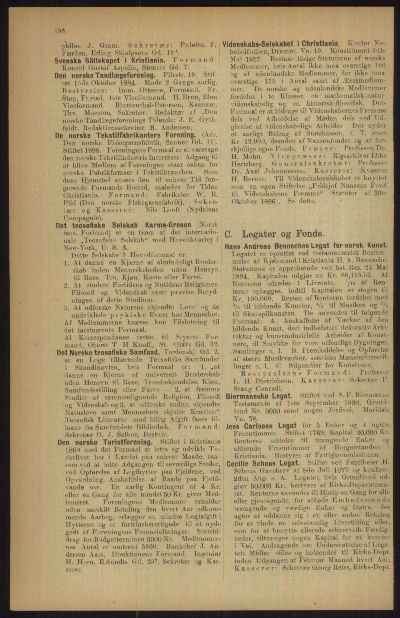RA, Kristiania adressebok (publikasjon)*, 1911, s. 136