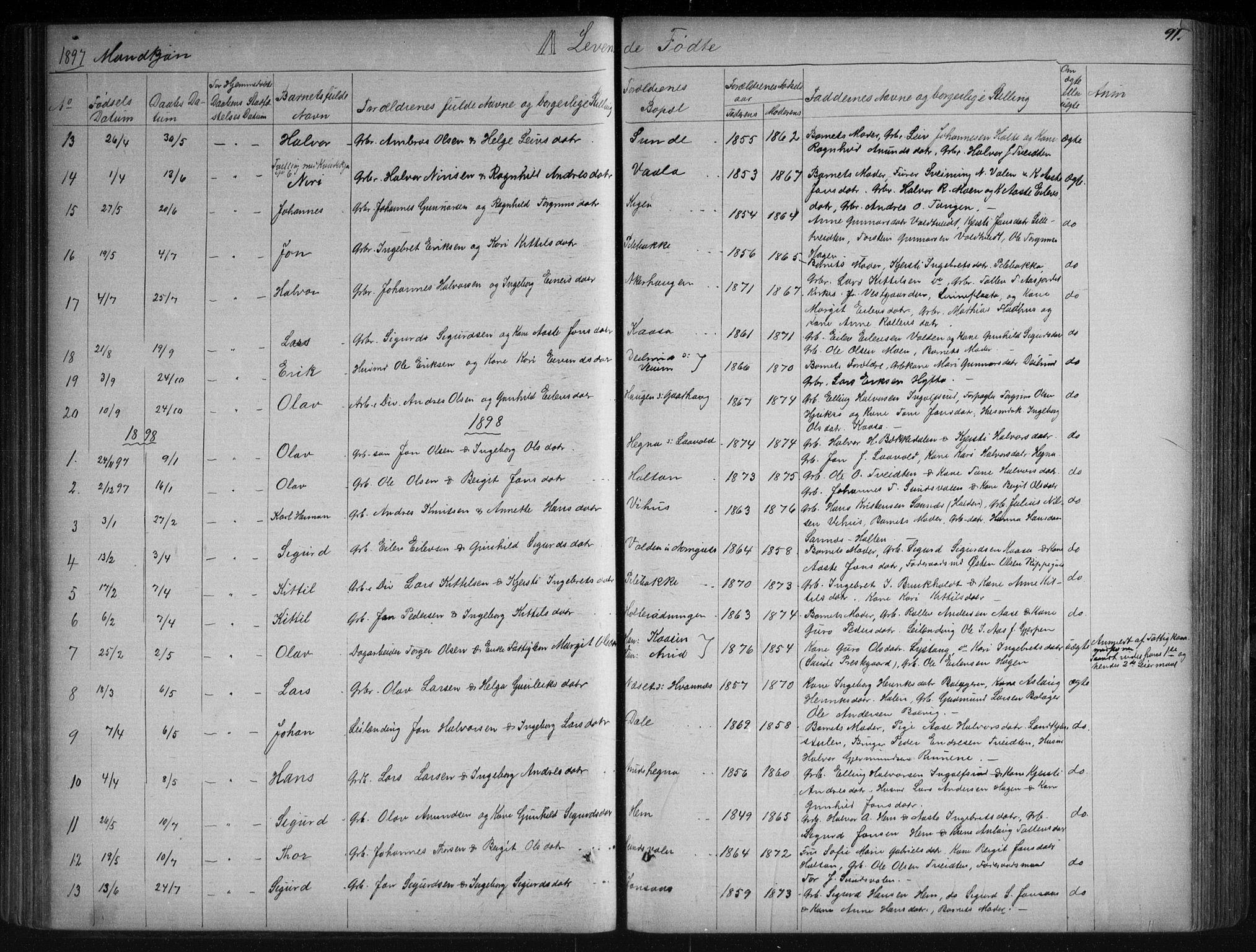 SAKO, Sauherad kirkebøker, G/Ga/L0003: Klokkerbok nr. I 3, 1866-1905, s. 91