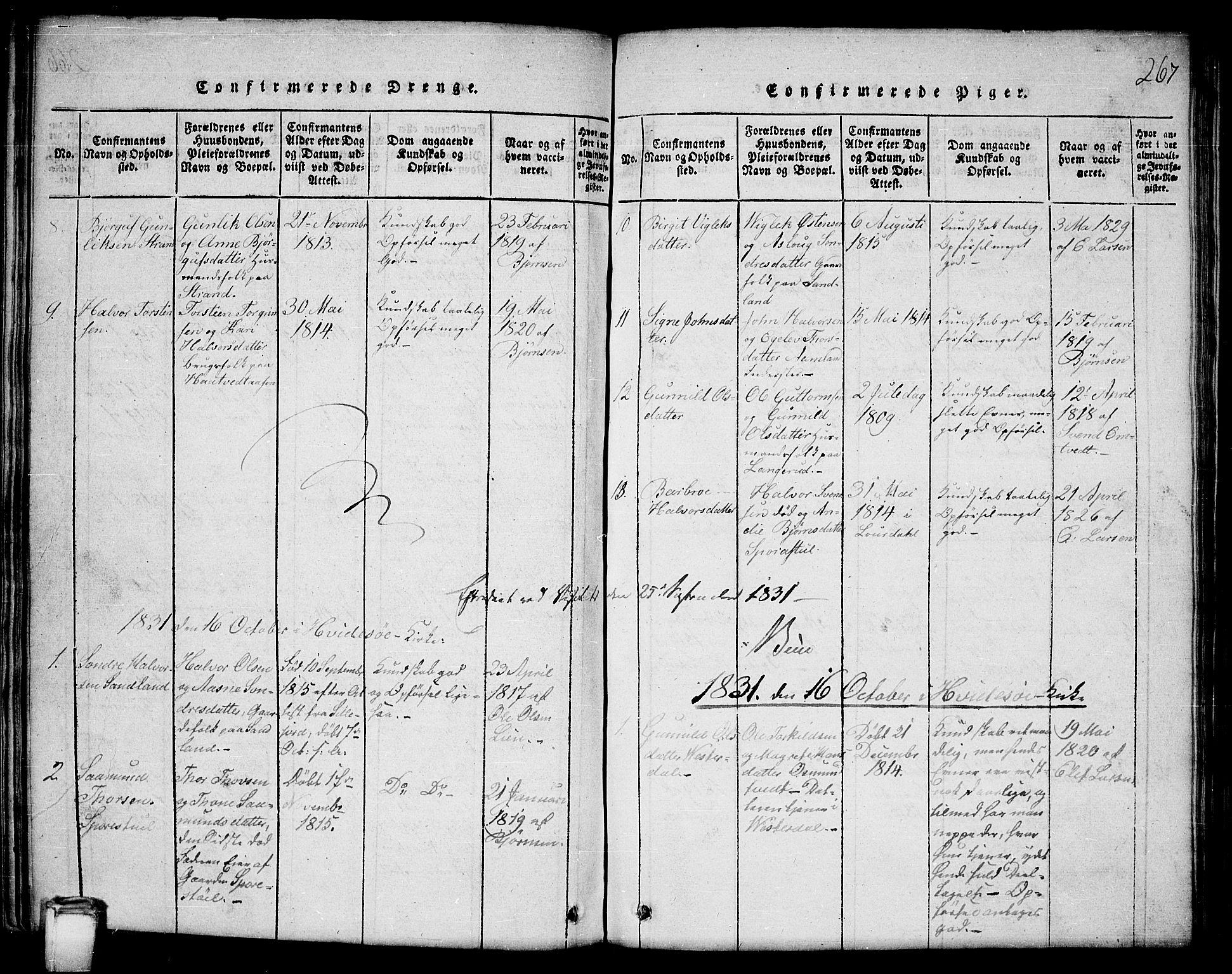 SAKO, Kviteseid kirkebøker, G/Gb/L0001: Klokkerbok nr. II 1, 1815-1842, s. 267