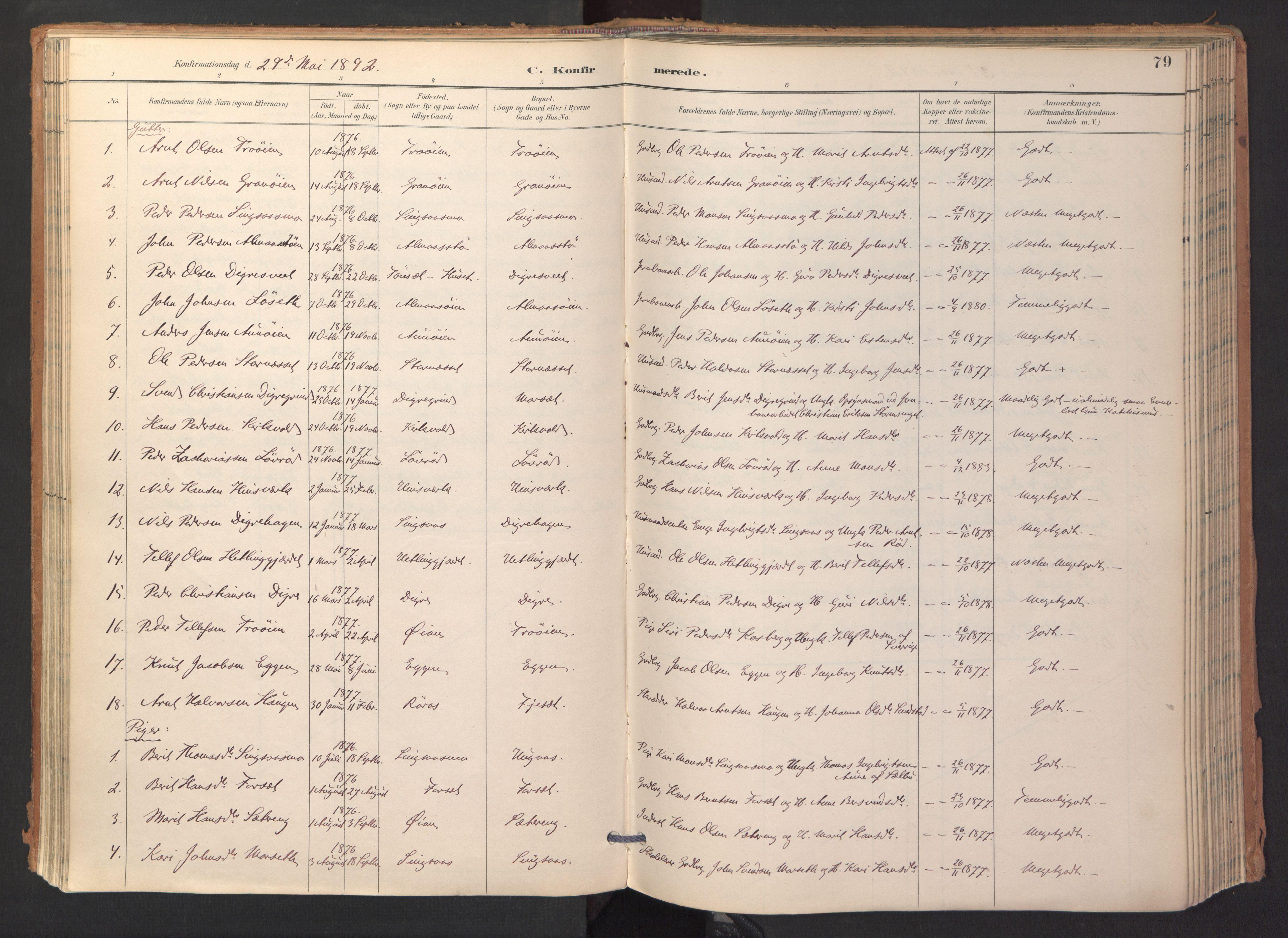 SAT, Ministerialprotokoller, klokkerbøker og fødselsregistre - Sør-Trøndelag, 688/L1025: Ministerialbok nr. 688A02, 1891-1909, s. 79