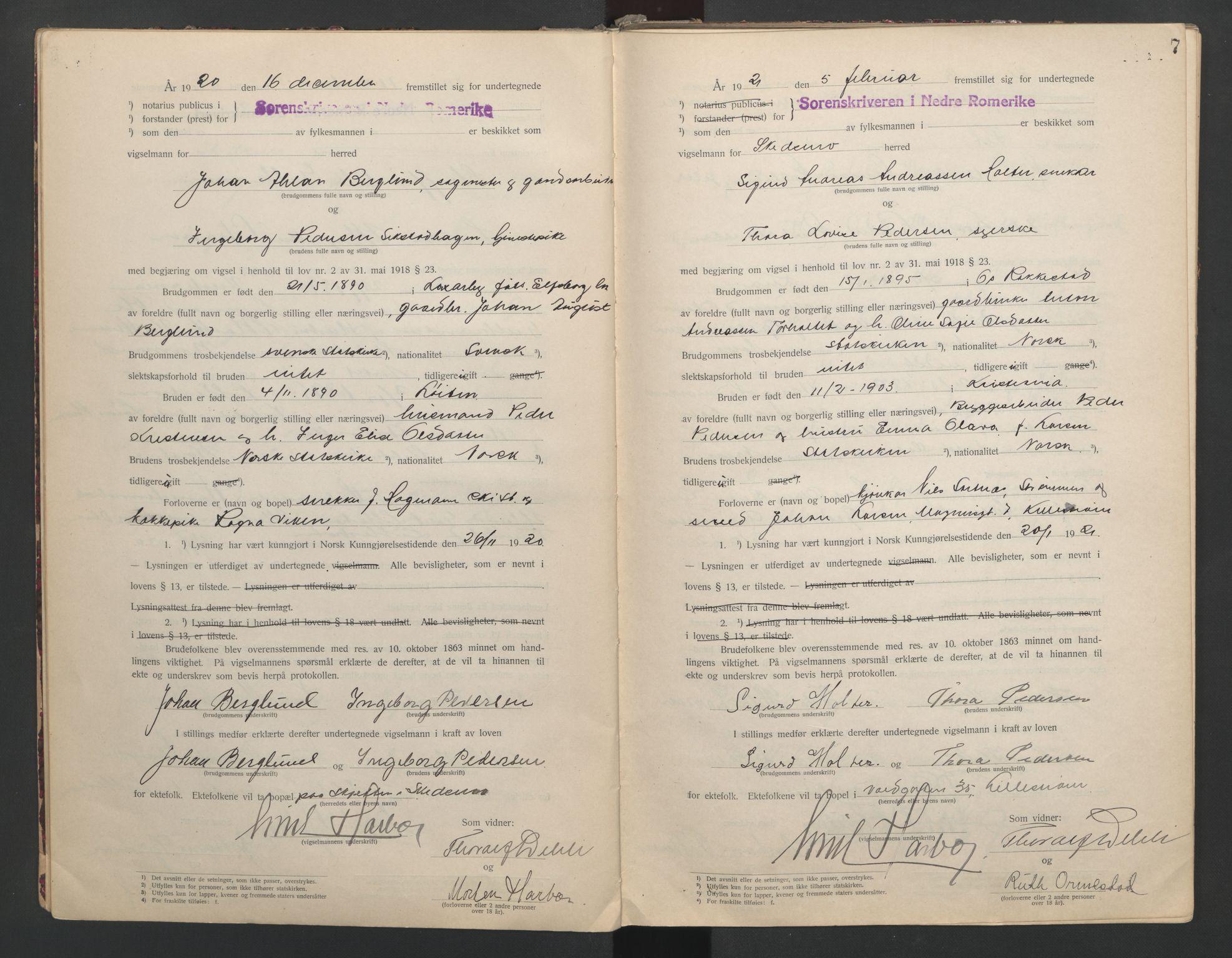 SAO, Nedre Romerike sorenskriveri, L/Lb/L0001: Vigselsbok - borgerlige vielser, 1920-1935, s. 7