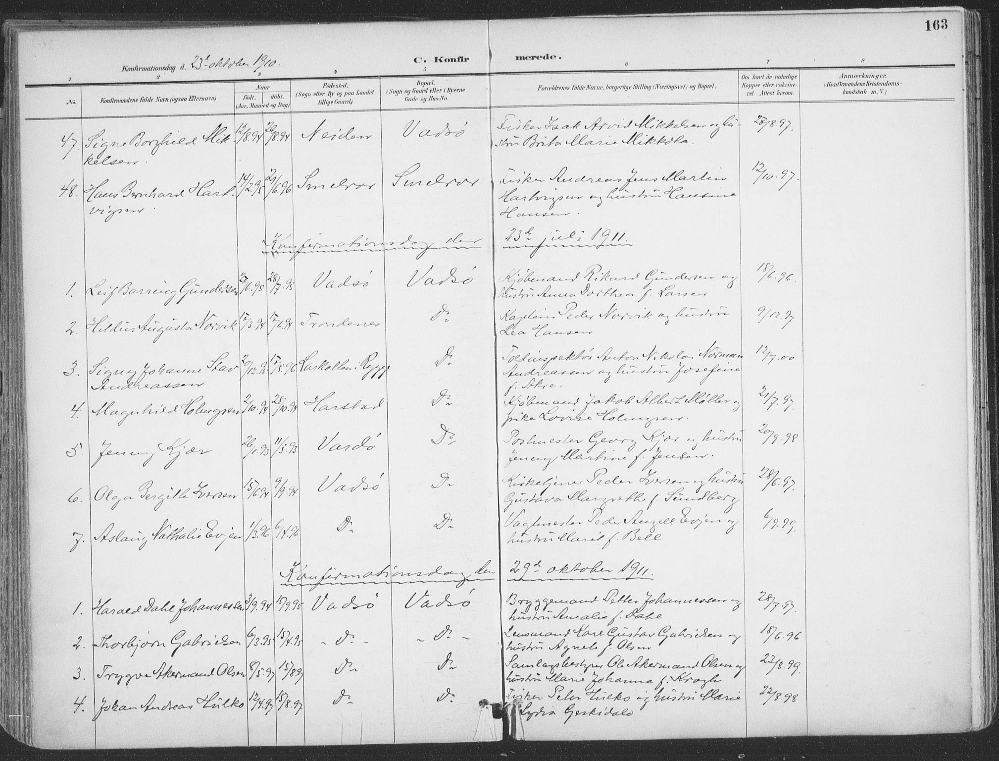 SATØ, Vadsø sokneprestkontor, H/Ha/L0007kirke: Ministerialbok nr. 7, 1896-1916, s. 163
