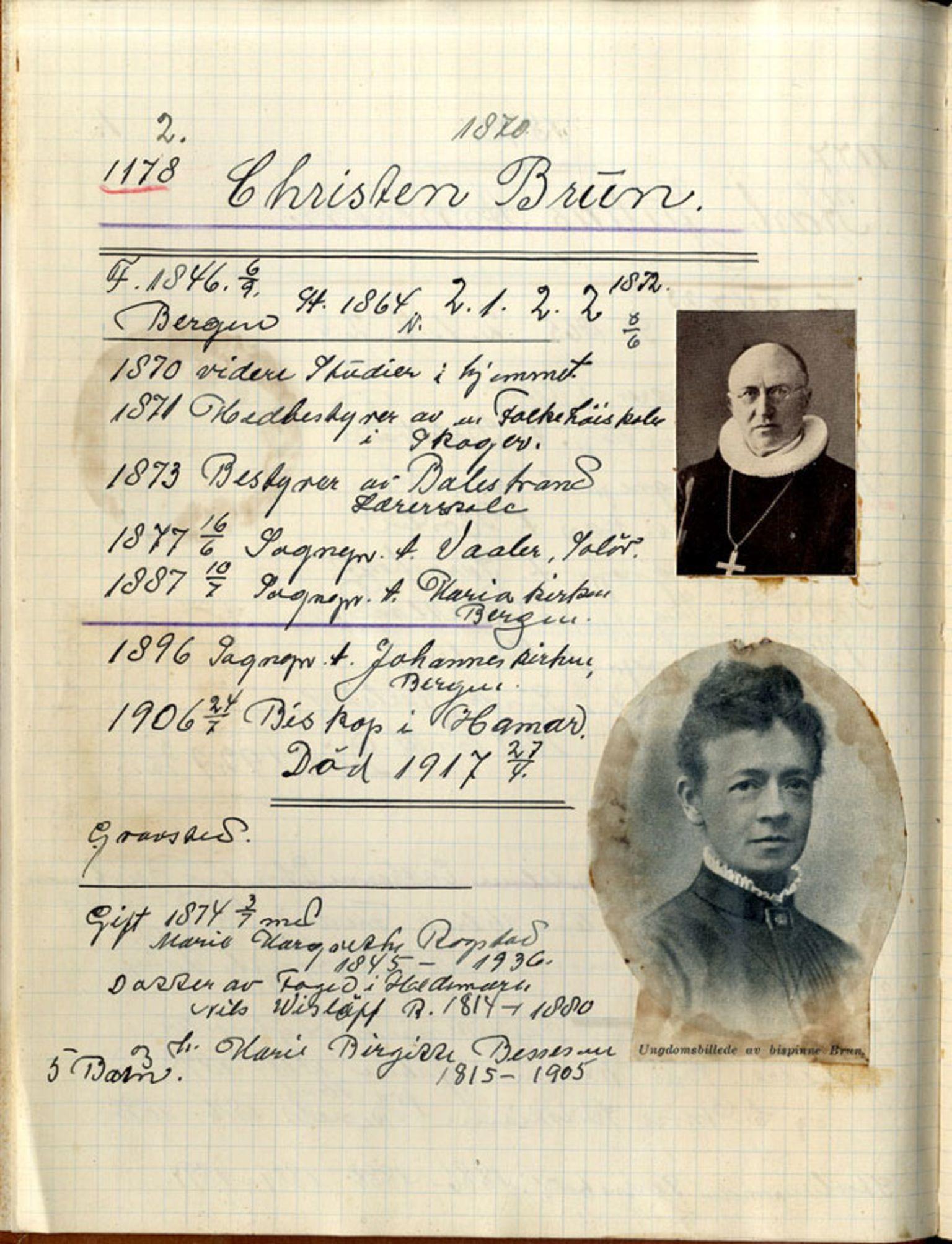 SAB, Stendal, Gunnar - samlinger til norsk prestehistorie, 01/L0003: Norske teologer, 1870-1889
