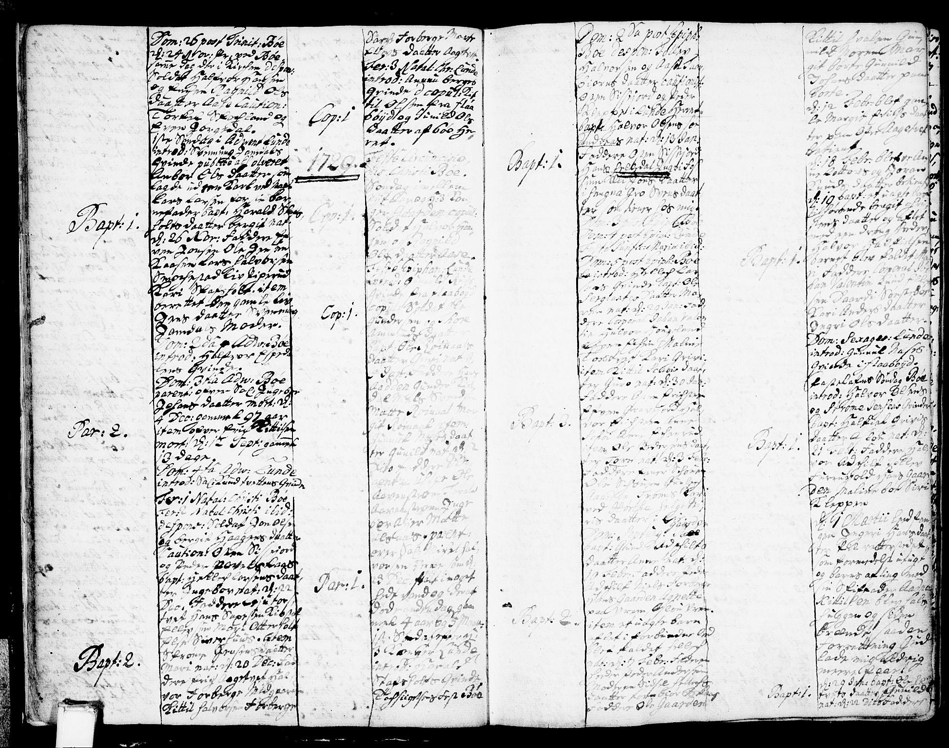 SAKO, Bø kirkebøker, F/Fa/L0002: Ministerialbok nr. 2, 1726-1732