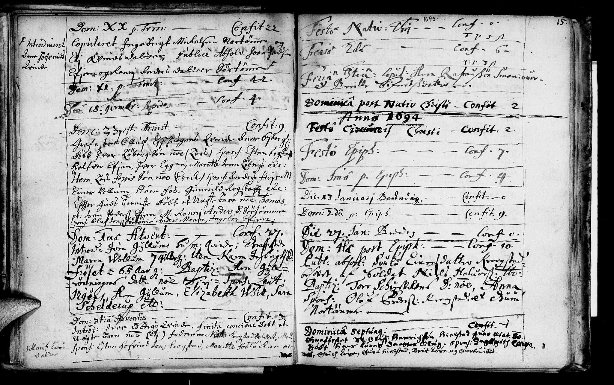 SAT, Ministerialprotokoller, klokkerbøker og fødselsregistre - Sør-Trøndelag, 692/L1101: Ministerialbok nr. 692A01, 1690-1746, s. 15