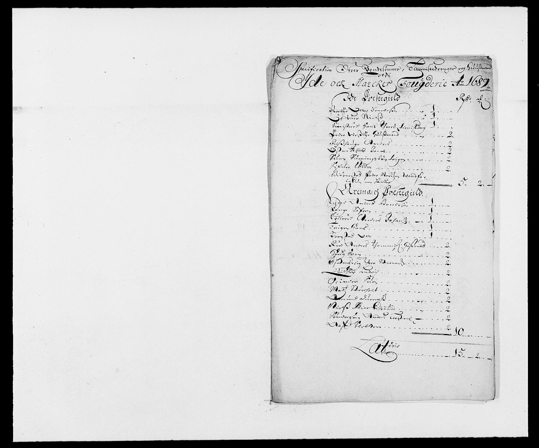 RA, Rentekammeret inntil 1814, Reviderte regnskaper, Fogderegnskap, R01/L0008: Fogderegnskap Idd og Marker, 1689, s. 183
