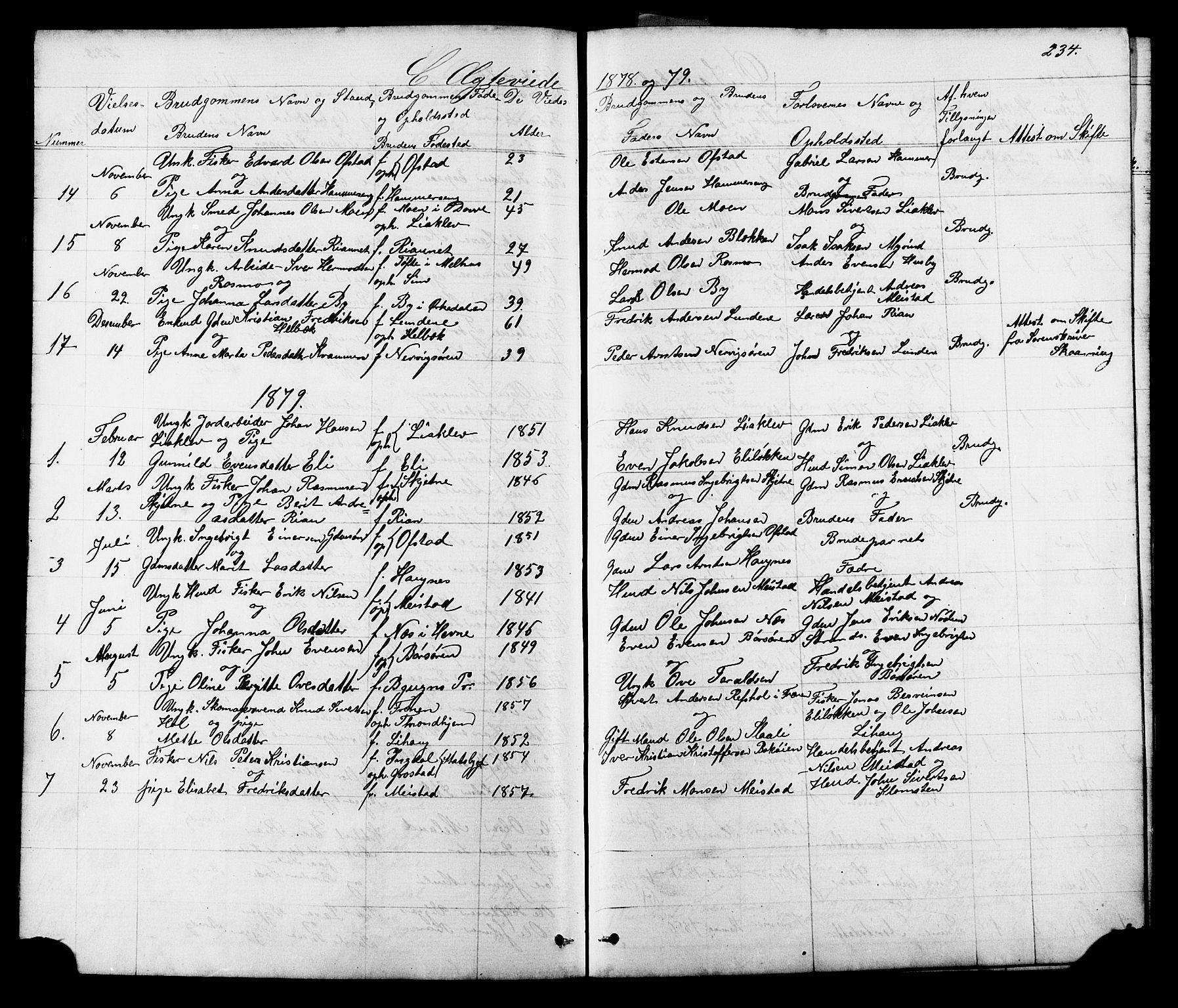 SAT, Ministerialprotokoller, klokkerbøker og fødselsregistre - Sør-Trøndelag, 665/L0777: Klokkerbok nr. 665C02, 1867-1915, s. 234
