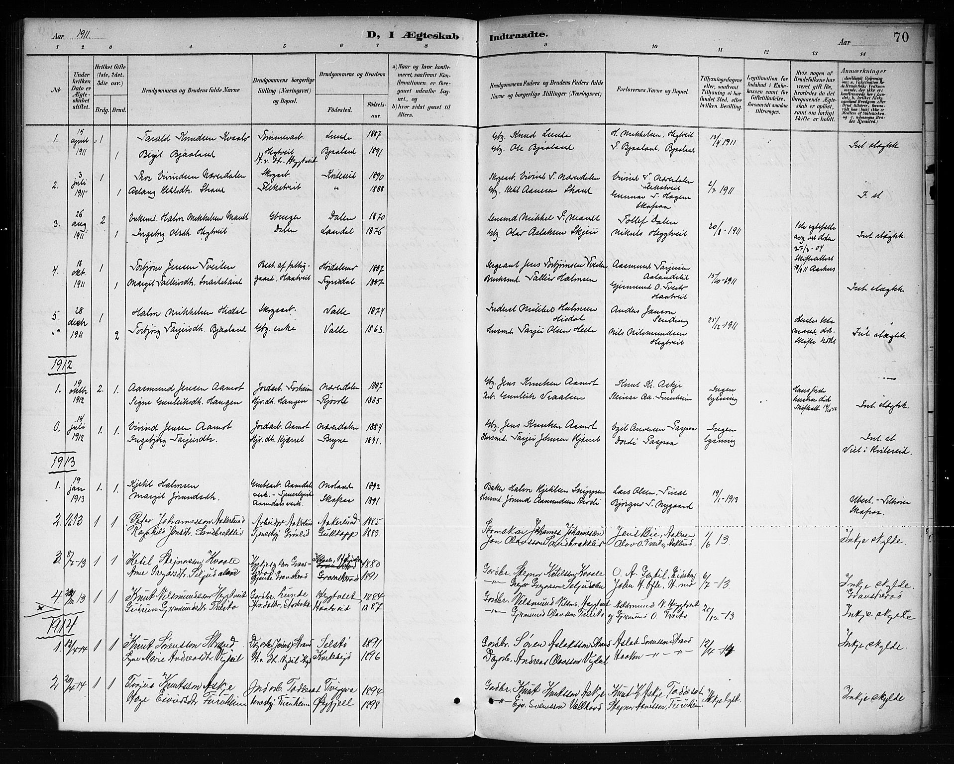 SAKO, Lårdal kirkebøker, G/Ga/L0003: Klokkerbok nr. I 3, 1891-1918, s. 70
