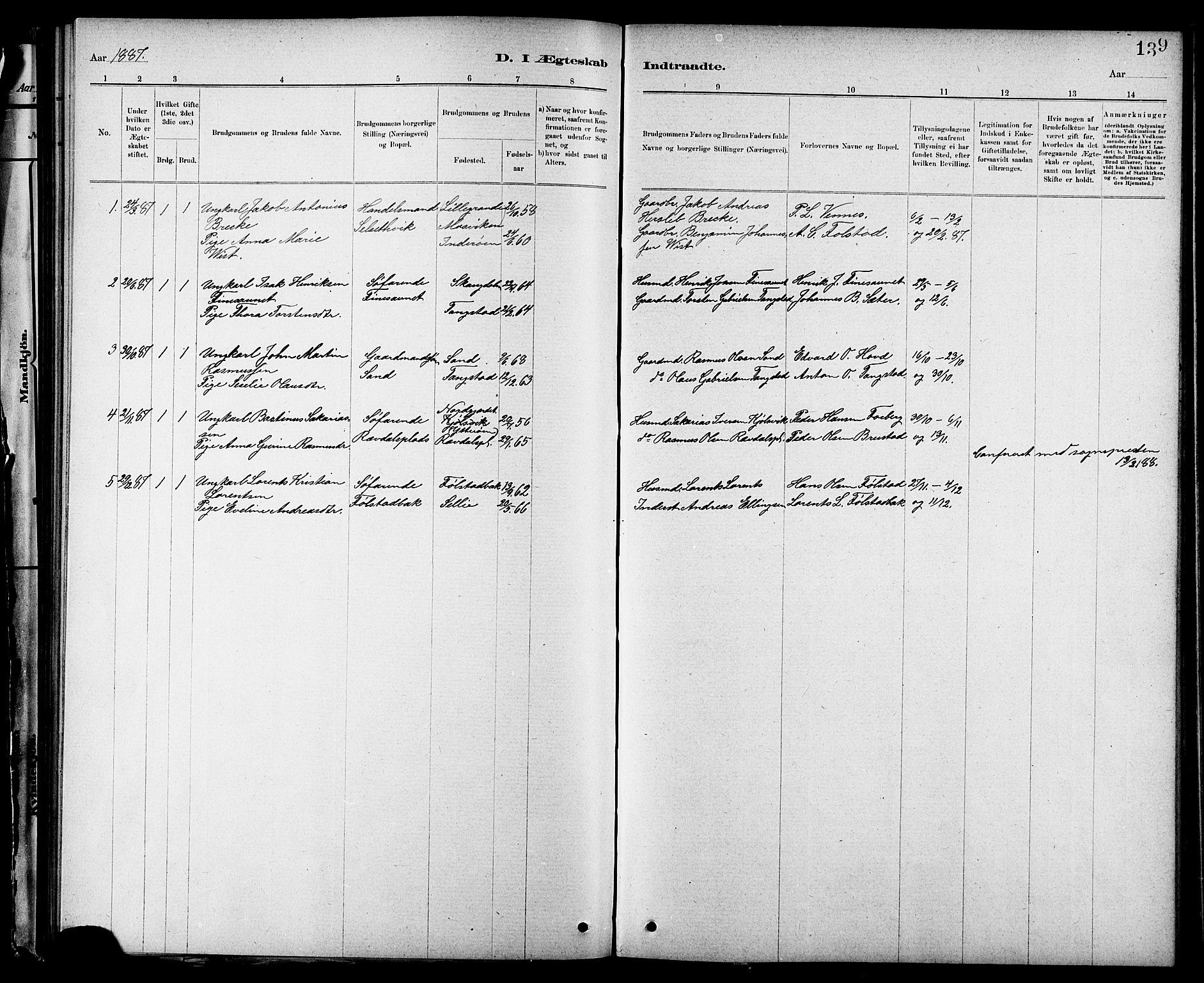 SAT, Ministerialprotokoller, klokkerbøker og fødselsregistre - Nord-Trøndelag, 744/L0423: Klokkerbok nr. 744C02, 1886-1905, s. 139