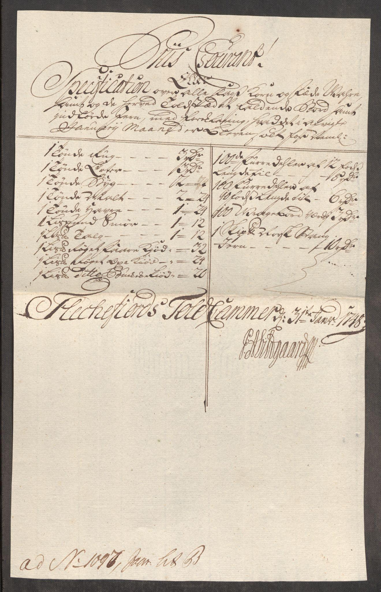 RA, Rentekammeret inntil 1814, Realistisk ordnet avdeling, Oe/L0003: [Ø1]: Priskuranter, 1745-1748, s. 865