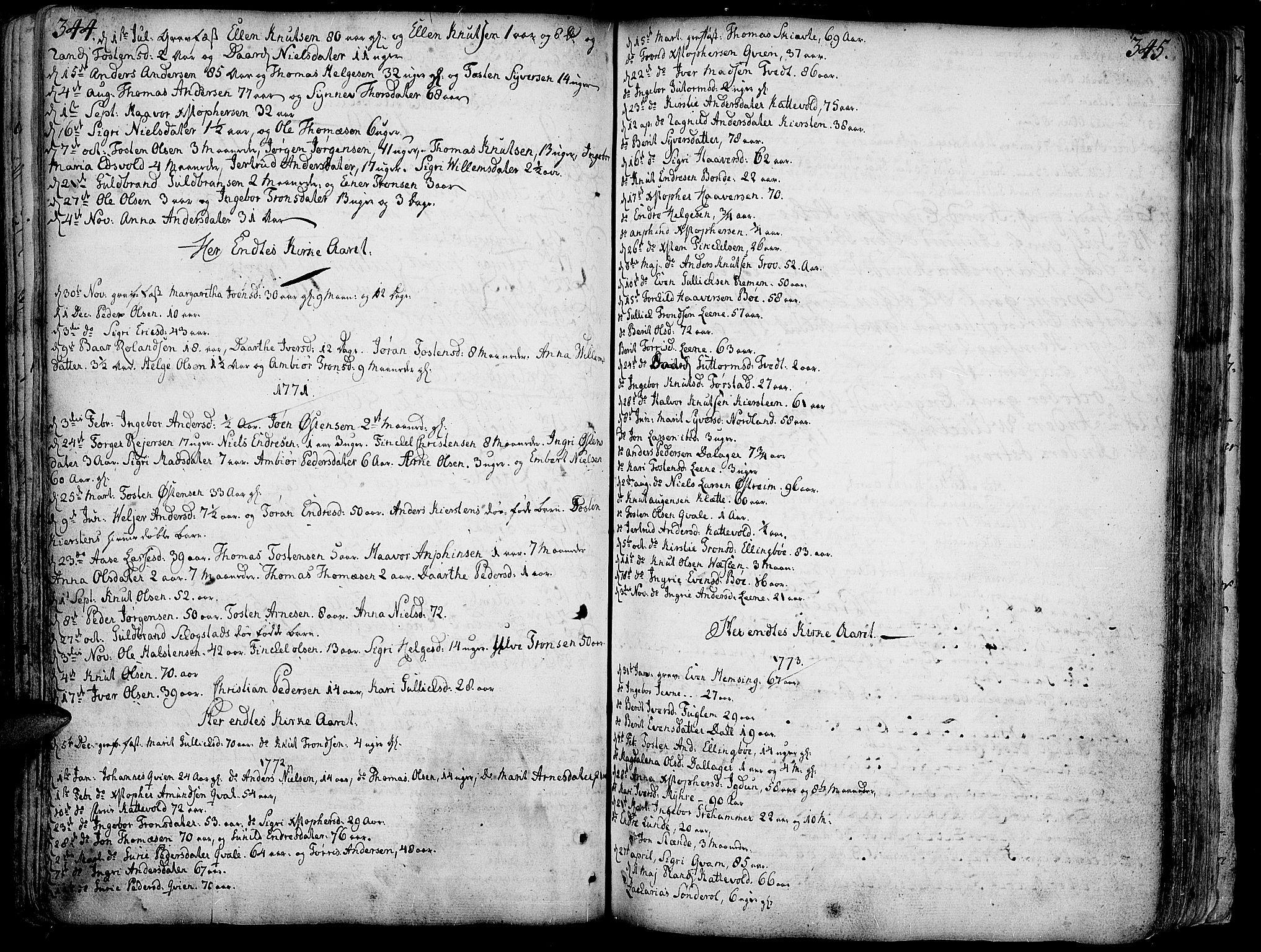 SAH, Vang prestekontor, Valdres, Ministerialbok nr. 1, 1730-1796, s. 344-345