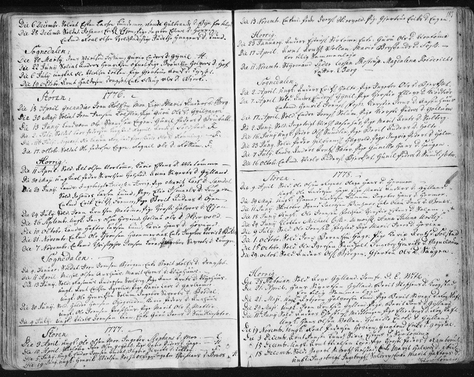 SAT, Ministerialprotokoller, klokkerbøker og fødselsregistre - Sør-Trøndelag, 687/L0991: Ministerialbok nr. 687A02, 1747-1790, s. 185