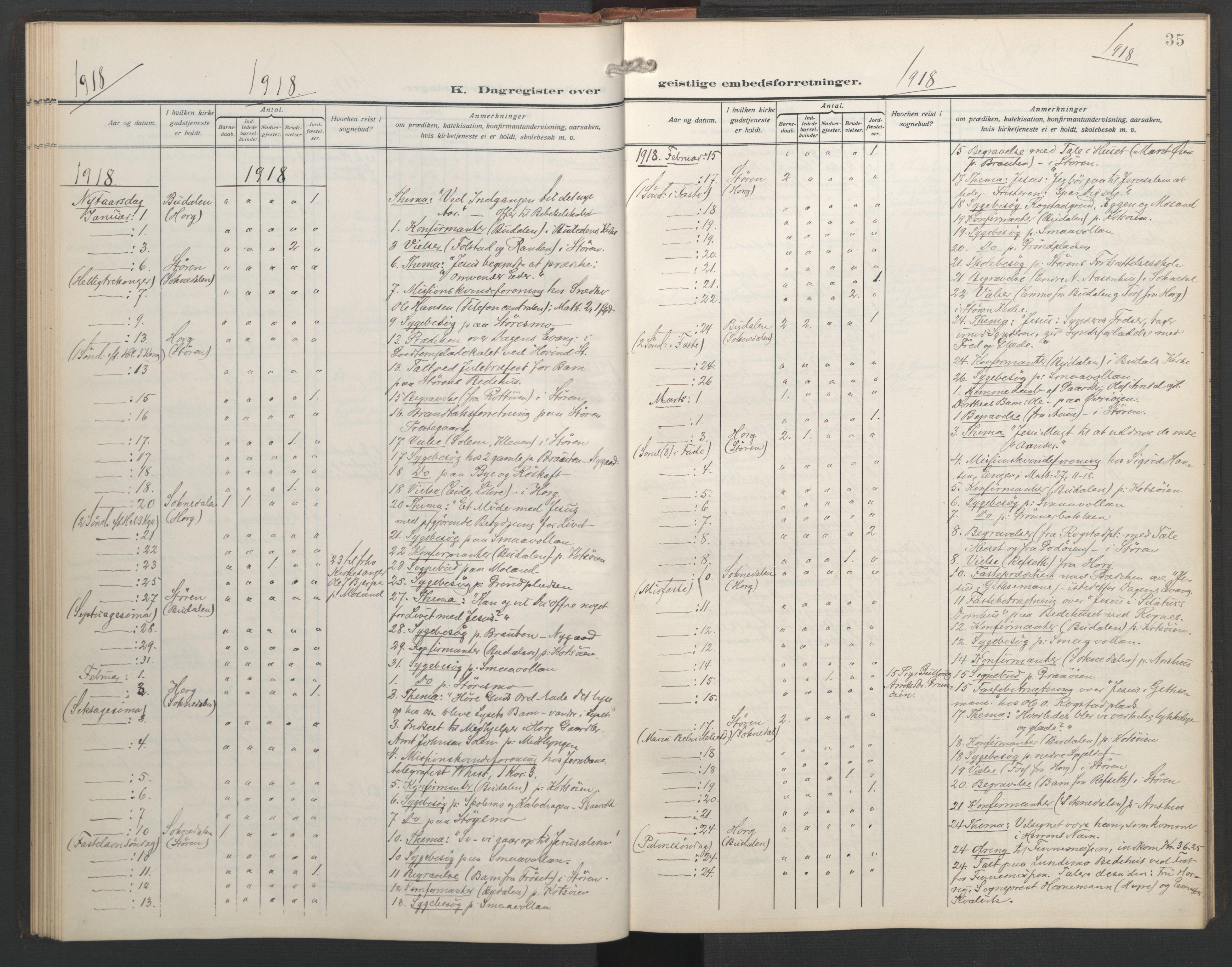 SAT, Ministerialprotokoller, klokkerbøker og fødselsregistre - Sør-Trøndelag, 687/L1006: Dagregister nr. 687A12, 1912-1931, s. 35