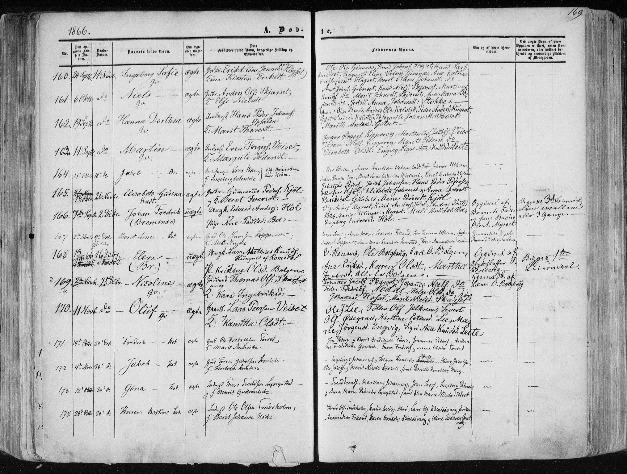 SAT, Ministerialprotokoller, klokkerbøker og fødselsregistre - Møre og Romsdal, 568/L0804: Ministerialbok nr. 568A11, 1854-1868, s. 169