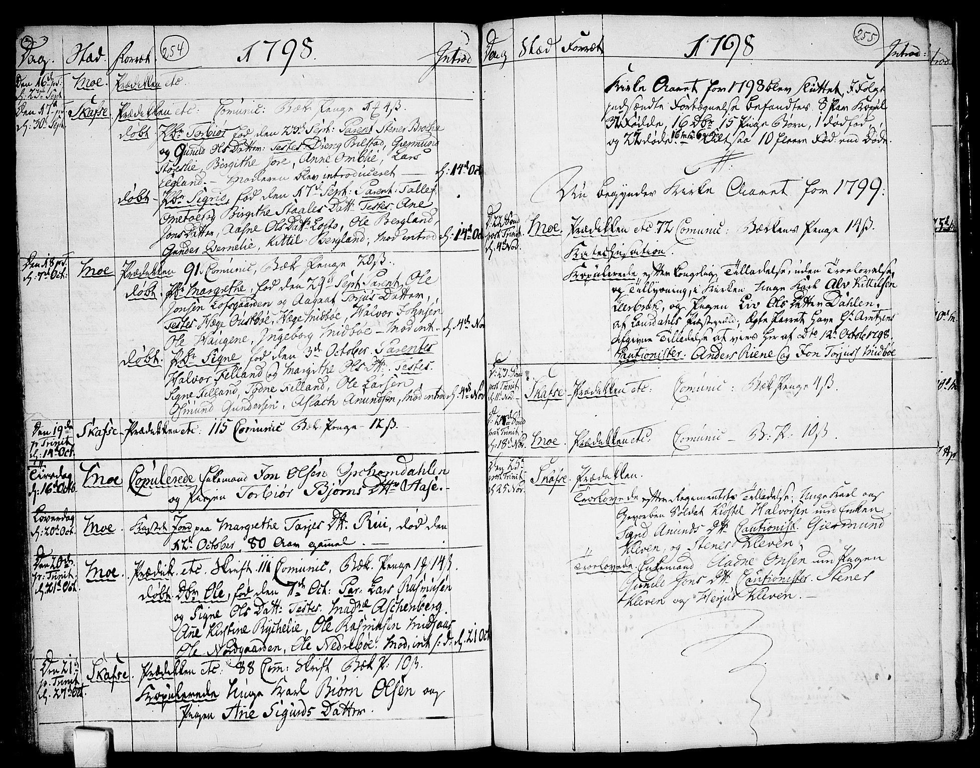 SAKO, Mo kirkebøker, F/Fa/L0002: Ministerialbok nr. I 2, 1766-1799, s. 254-255