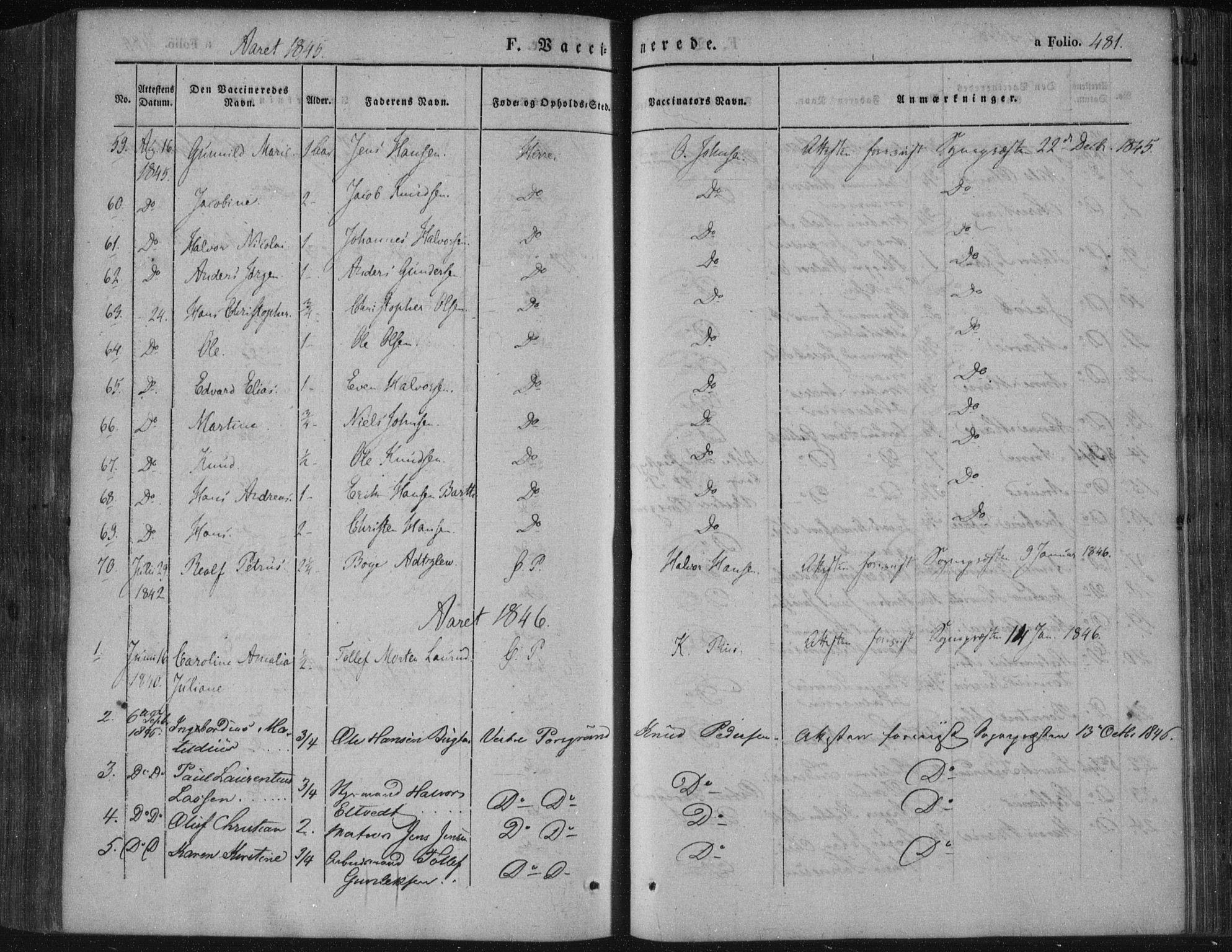 SAKO, Porsgrunn kirkebøker , F/Fa/L0006: Ministerialbok nr. 6, 1841-1857, s. 481