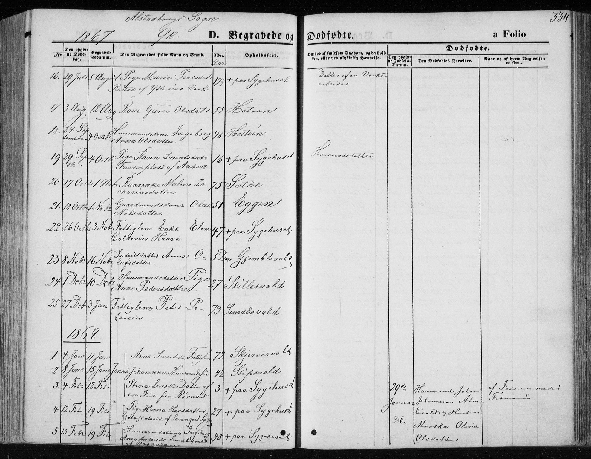 SAT, Ministerialprotokoller, klokkerbøker og fødselsregistre - Nord-Trøndelag, 717/L0157: Ministerialbok nr. 717A08 /1, 1863-1877, s. 334
