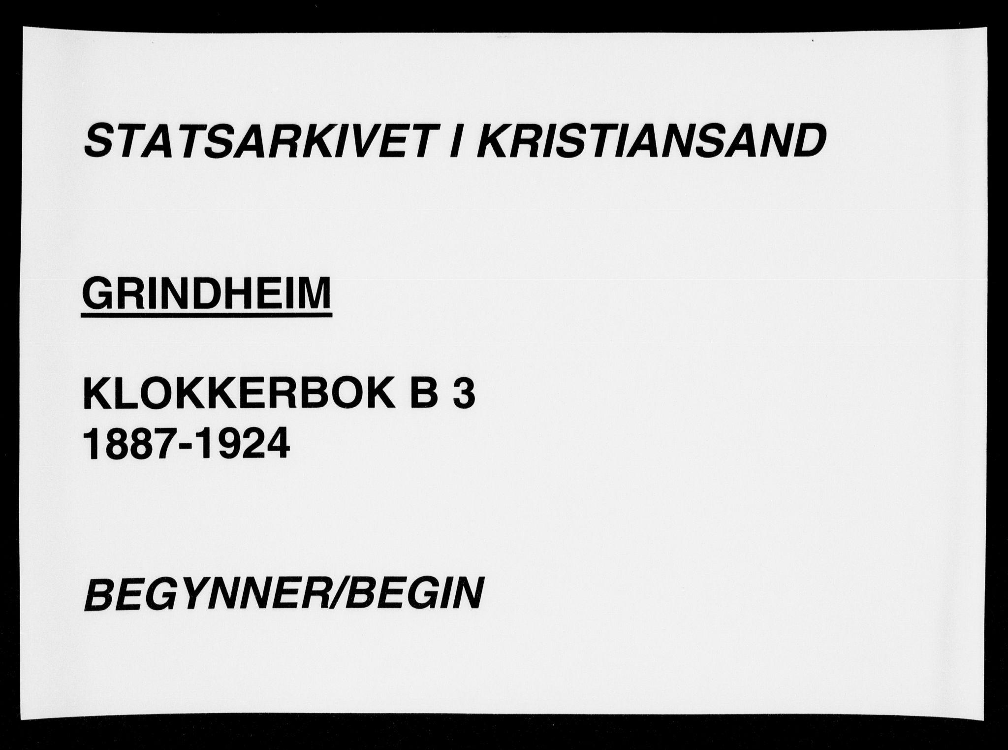 SAK, Bjelland sokneprestkontor, F/Fb/Fbc/L0003: Klokkerbok nr. B 3, 1887-1924