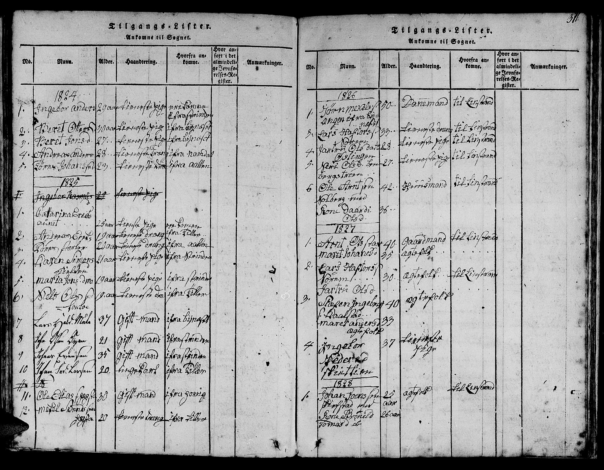 SAT, Ministerialprotokoller, klokkerbøker og fødselsregistre - Sør-Trøndelag, 613/L0393: Klokkerbok nr. 613C01, 1816-1886, s. 311