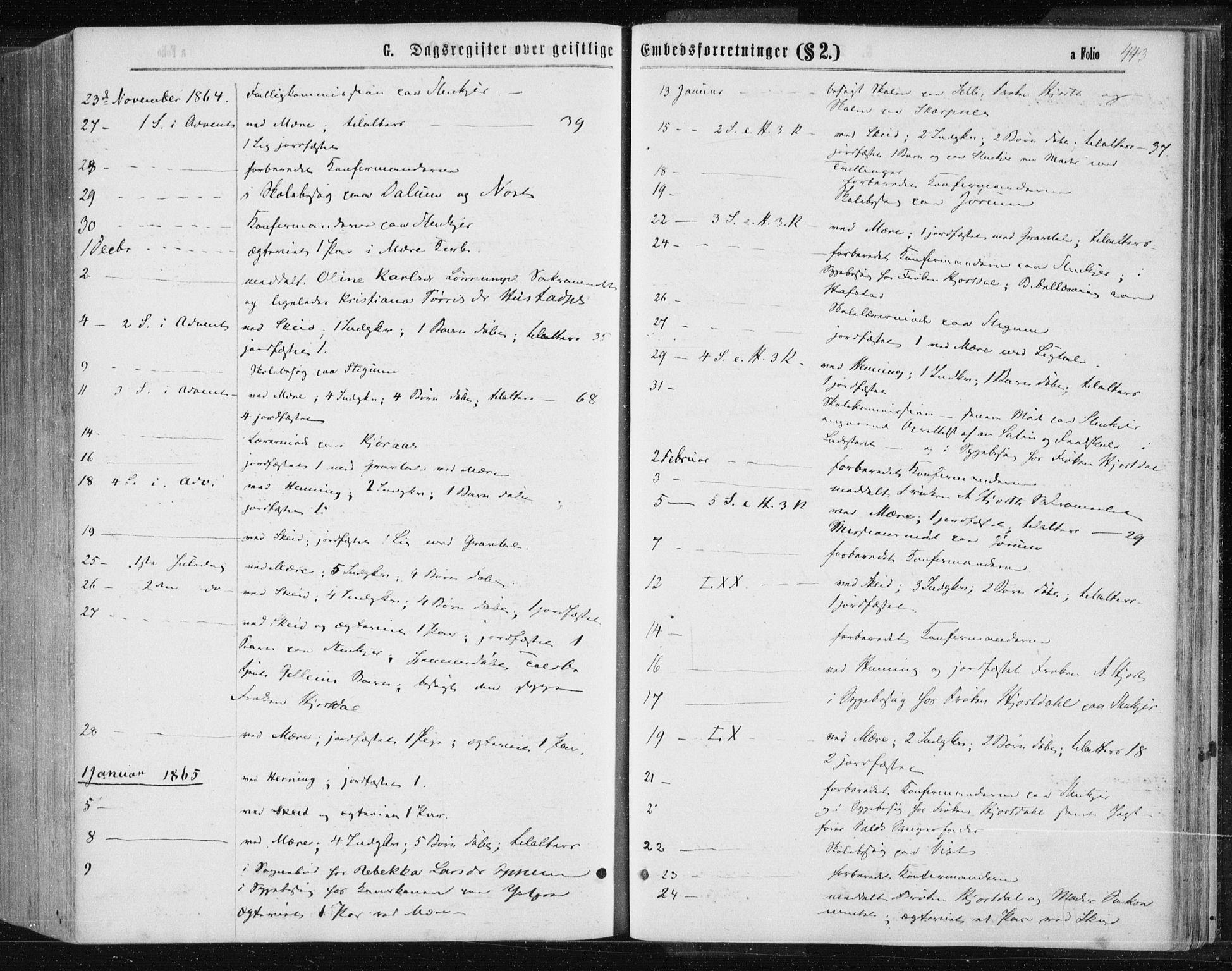 SAT, Ministerialprotokoller, klokkerbøker og fødselsregistre - Nord-Trøndelag, 735/L0345: Ministerialbok nr. 735A08 /1, 1863-1872, s. 443
