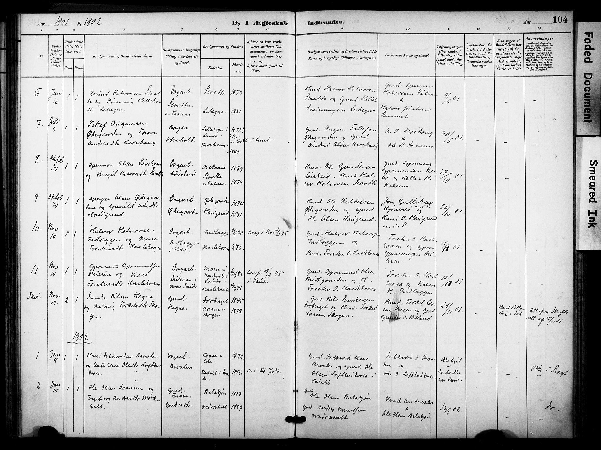 SAKO, Bø kirkebøker, F/Fa/L0012: Ministerialbok nr. 12, 1900-1908, s. 104