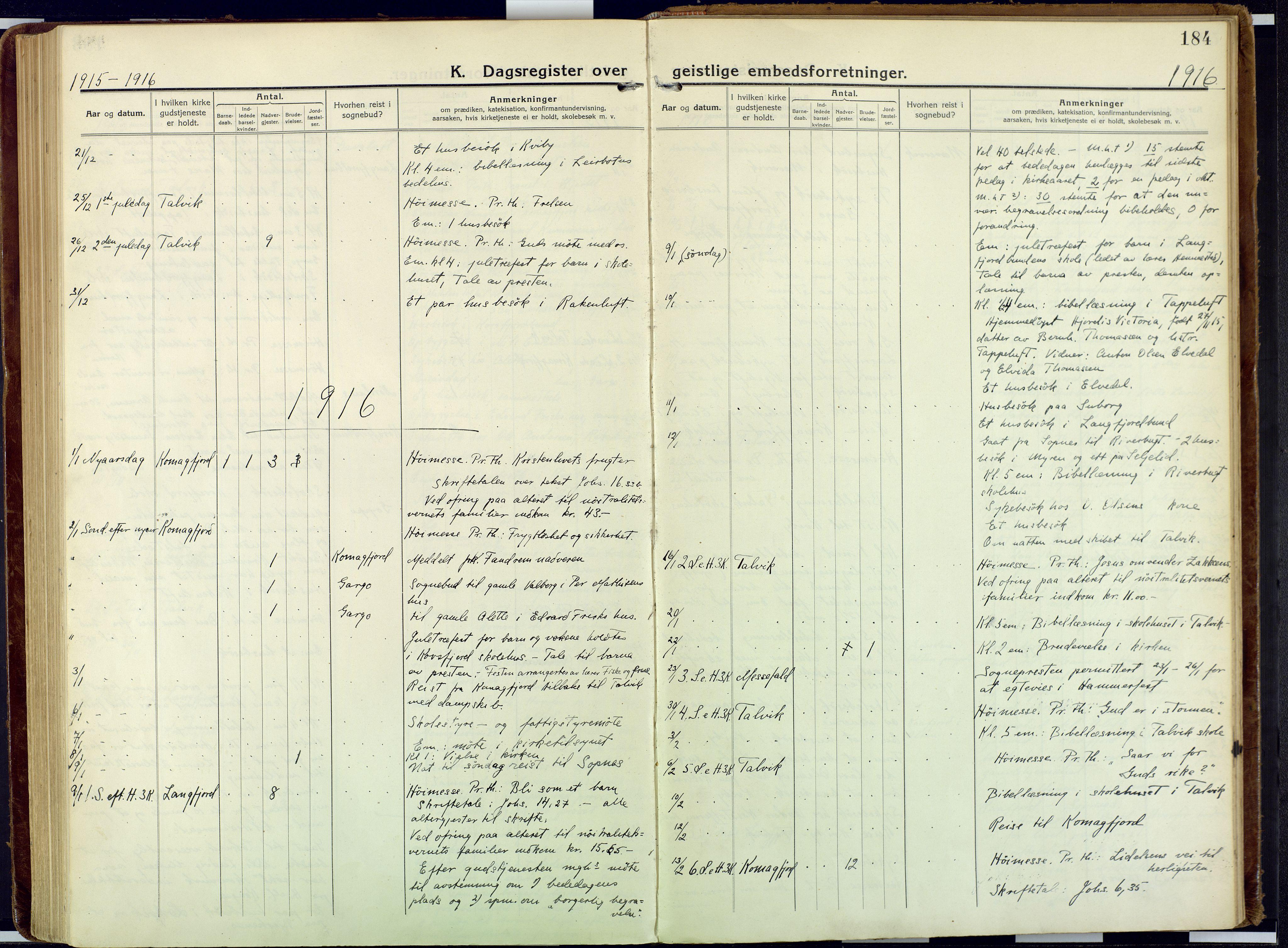 SATØ, Talvik sokneprestkontor, H/Ha/L0018kirke: Ministerialbok nr. 18, 1915-1924, s. 184