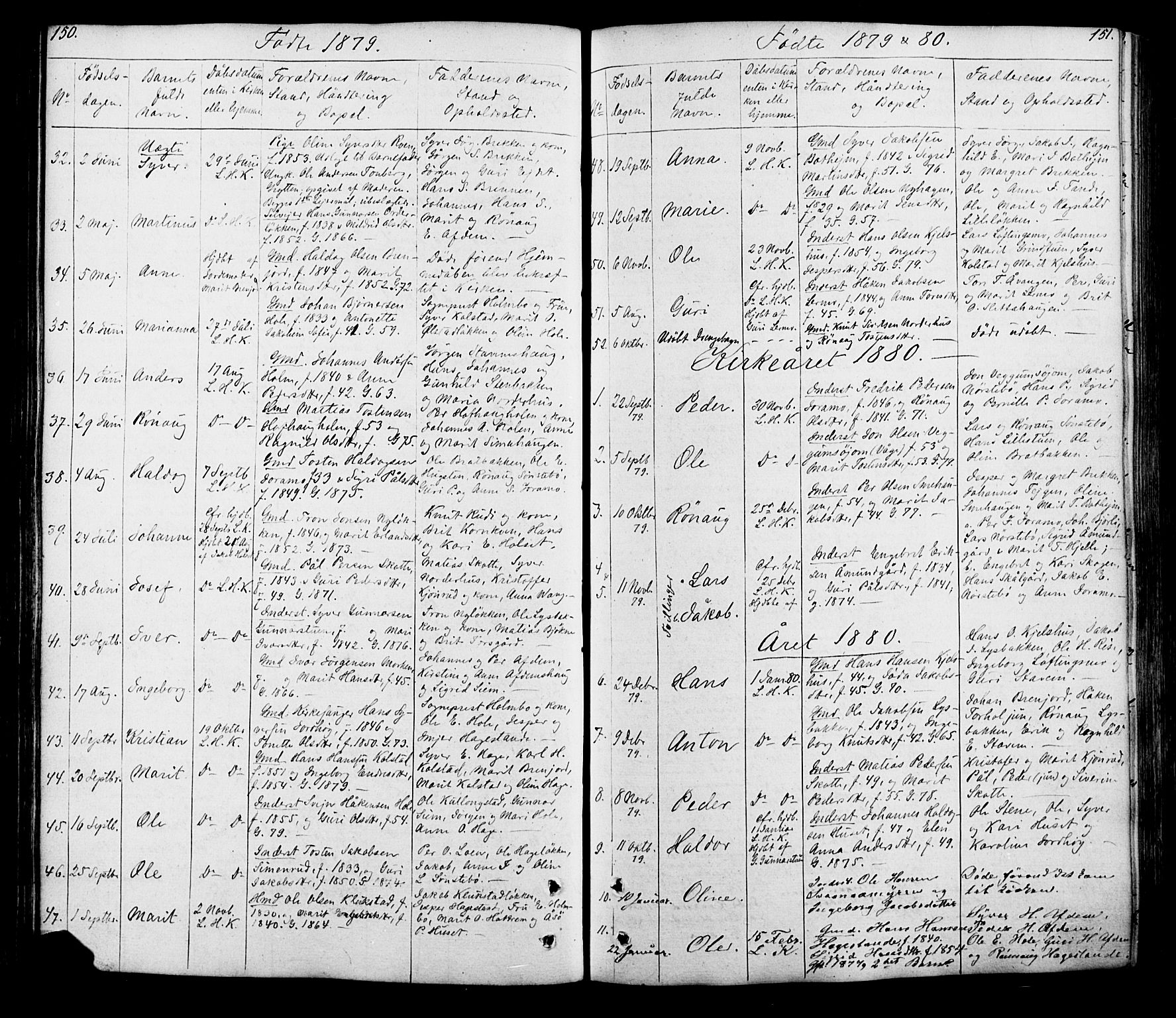 SAH, Lesja prestekontor, Klokkerbok nr. 5, 1850-1894, s. 150-151