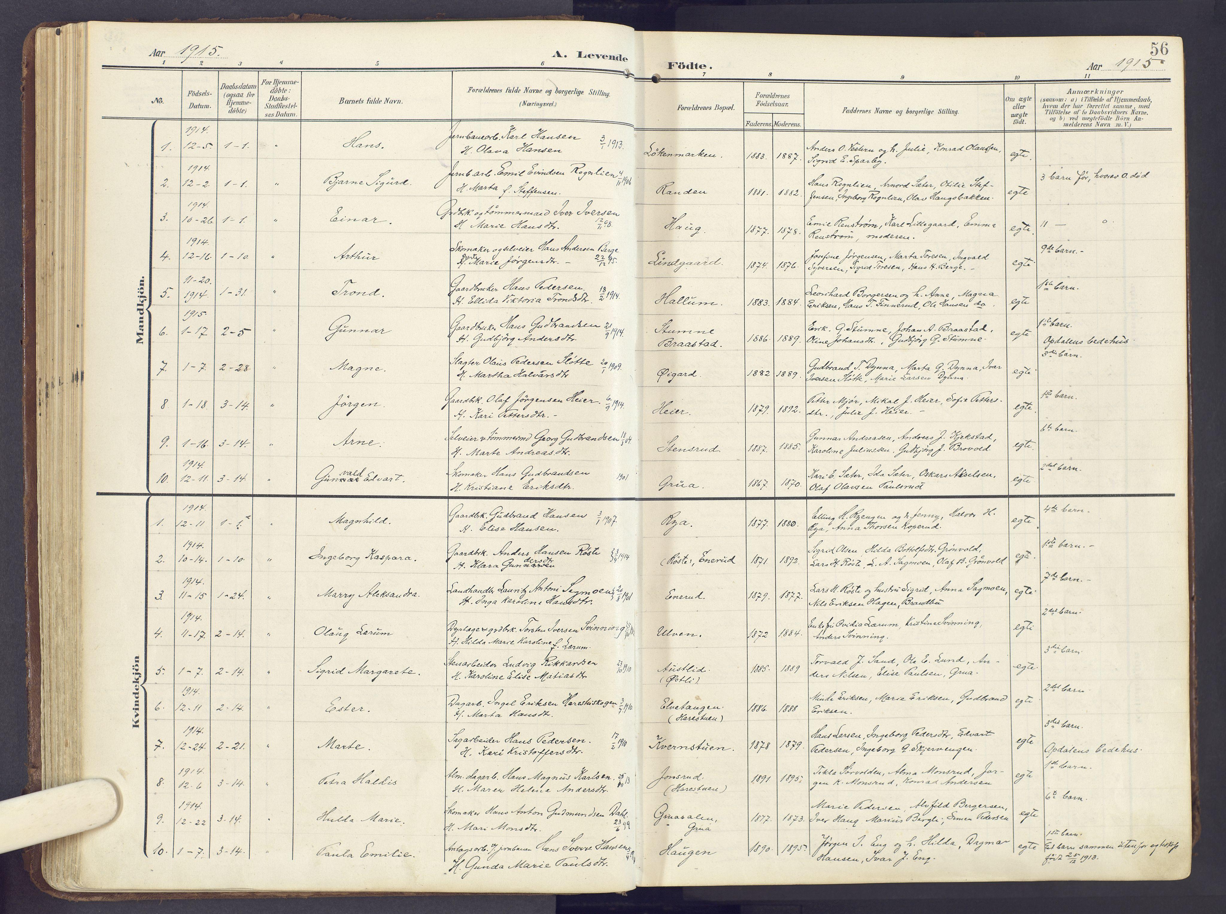SAH, Lunner prestekontor, H/Ha/Haa/L0001: Ministerialbok nr. 1, 1907-1922, s. 56