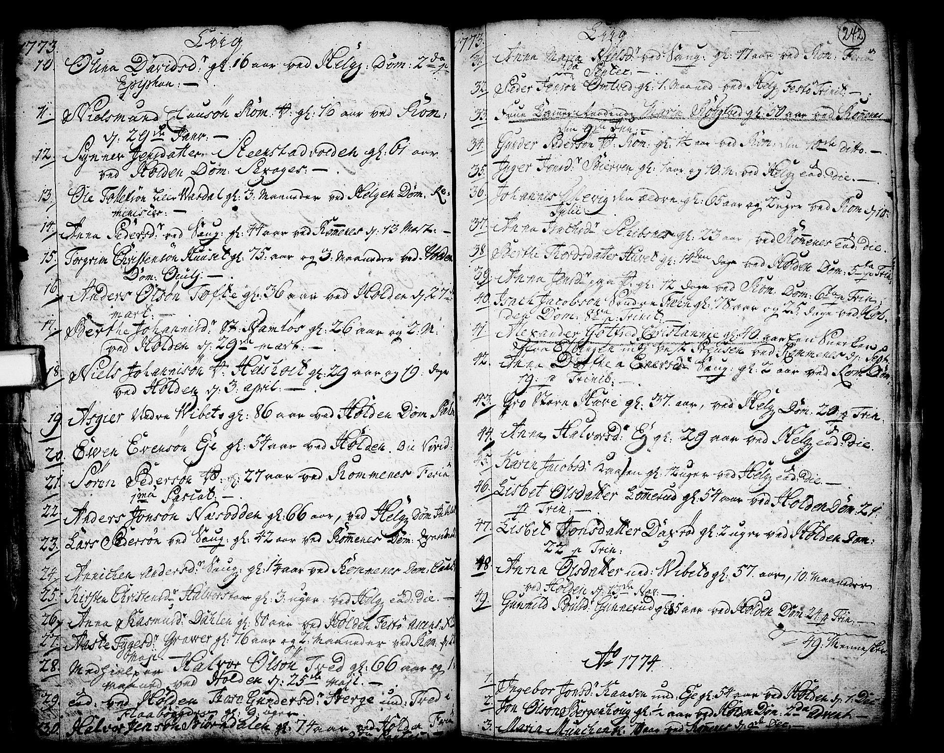 SAKO, Holla kirkebøker, F/Fa/L0001: Ministerialbok nr. 1, 1717-1779, s. 242