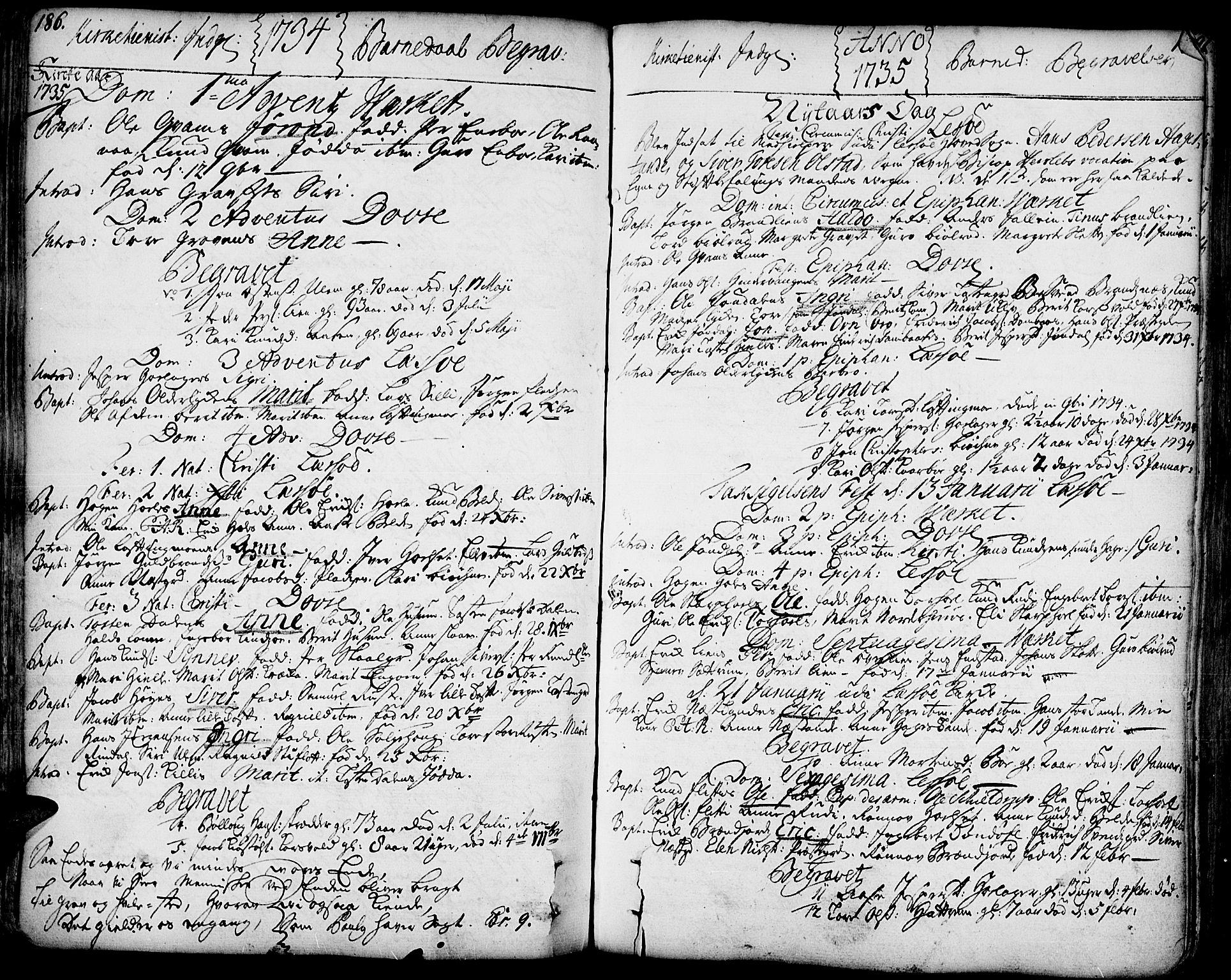 SAH, Lesja prestekontor, Ministerialbok nr. 2, 1732-1776, s. 186-187