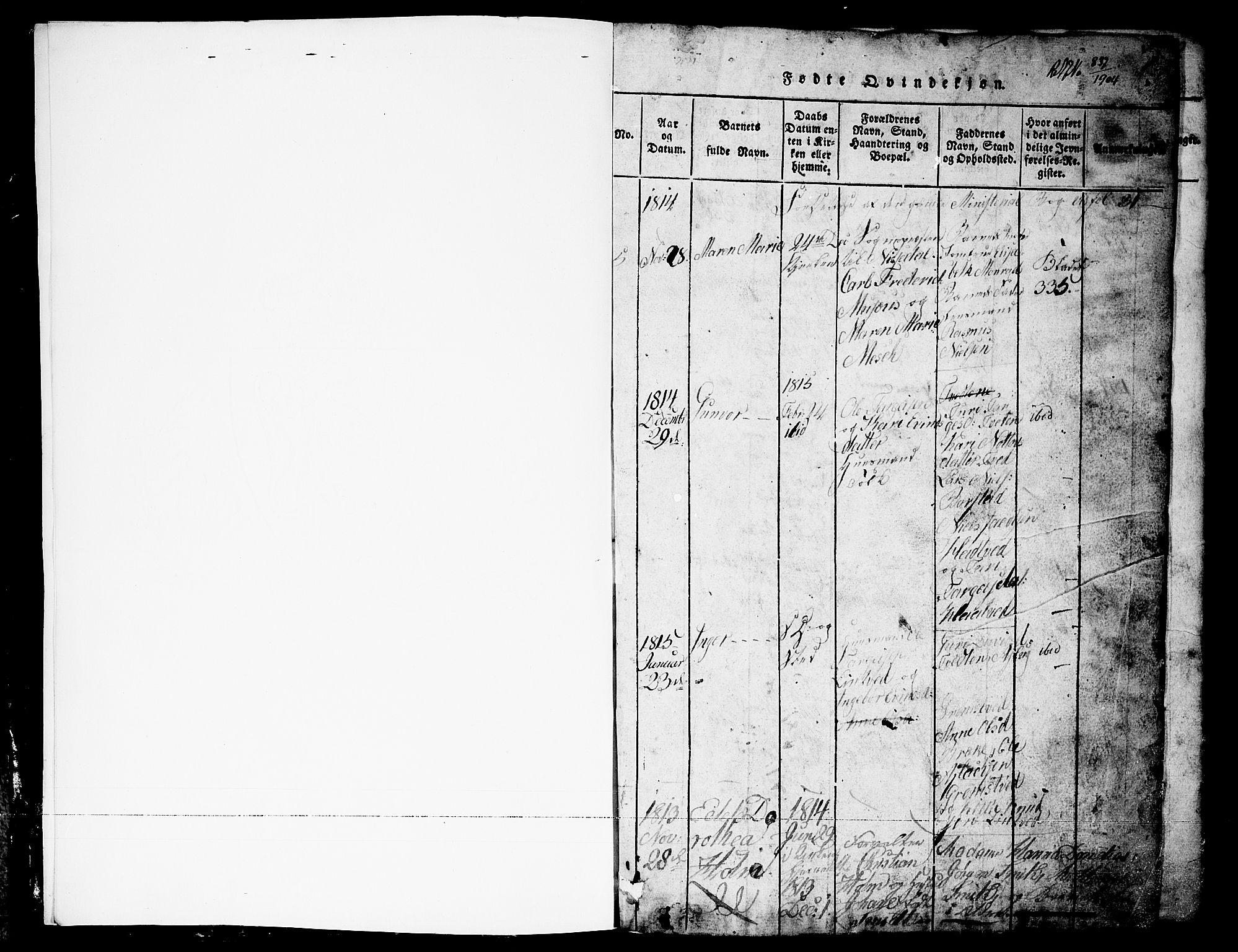 SAKO, Nissedal kirkebøker, G/Ga/L0001: Klokkerbok nr. I 1, 1814-1860, s. 1
