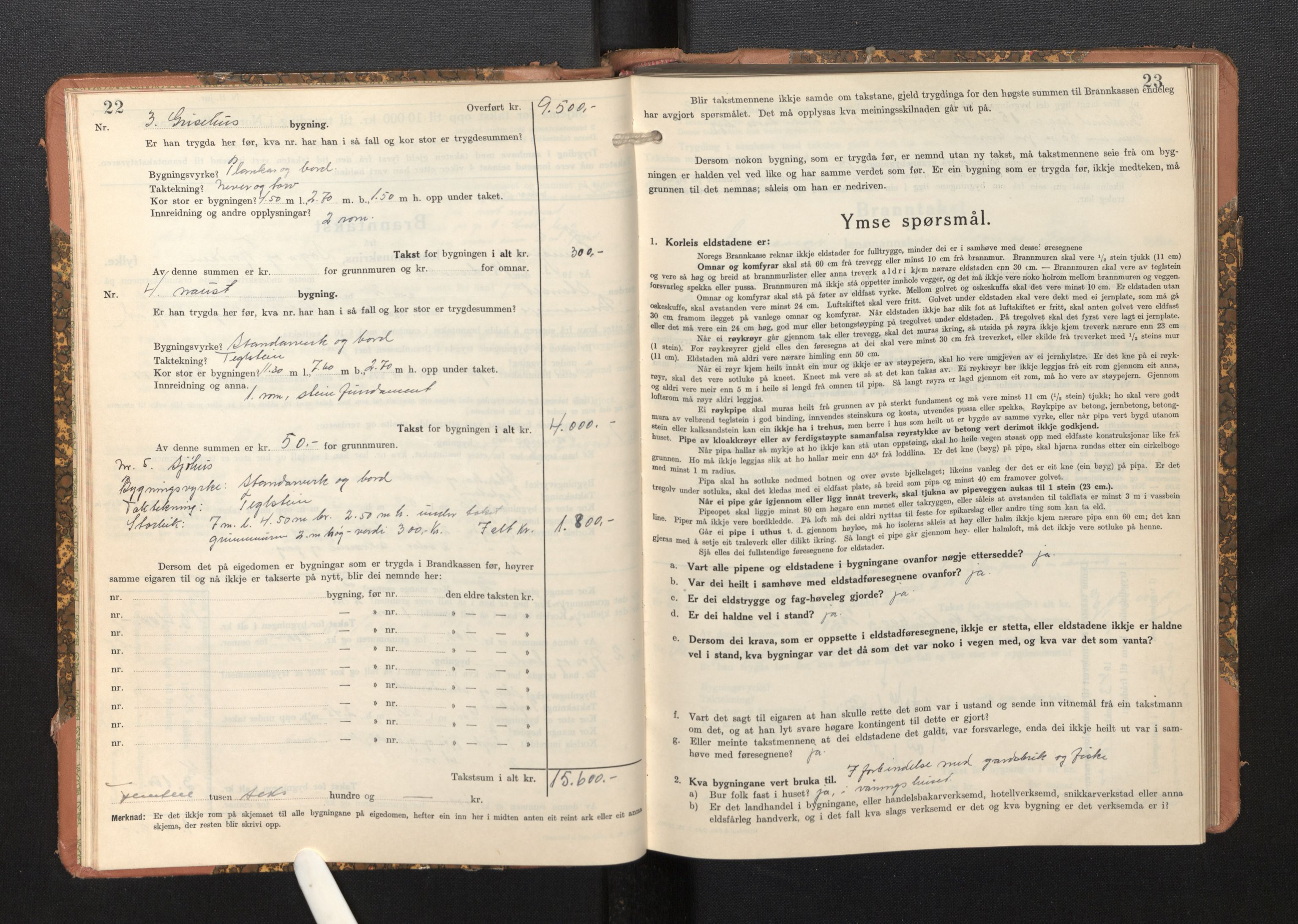 SAB, Lensmannen i Bremanger, 0012/L0009: Branntakstprotokoll, skjematakst, 1943-1950, s. 22-23
