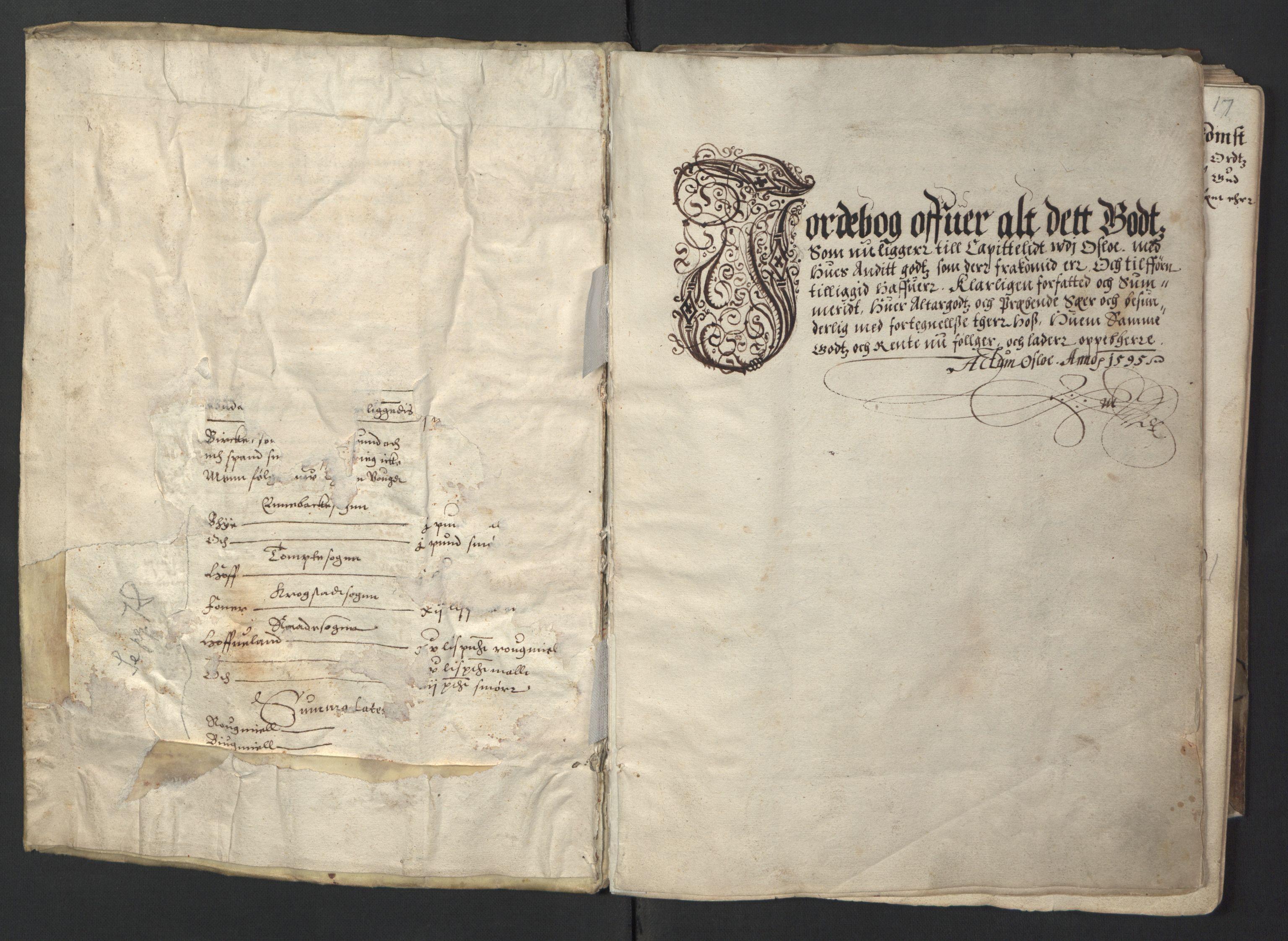RA, Stattholderembetet 1572-1771, Ek/L0001: Jordebøker før 1624 og til utligning av garnisonsskatt 1624-1626:, 1595, s. upaginert