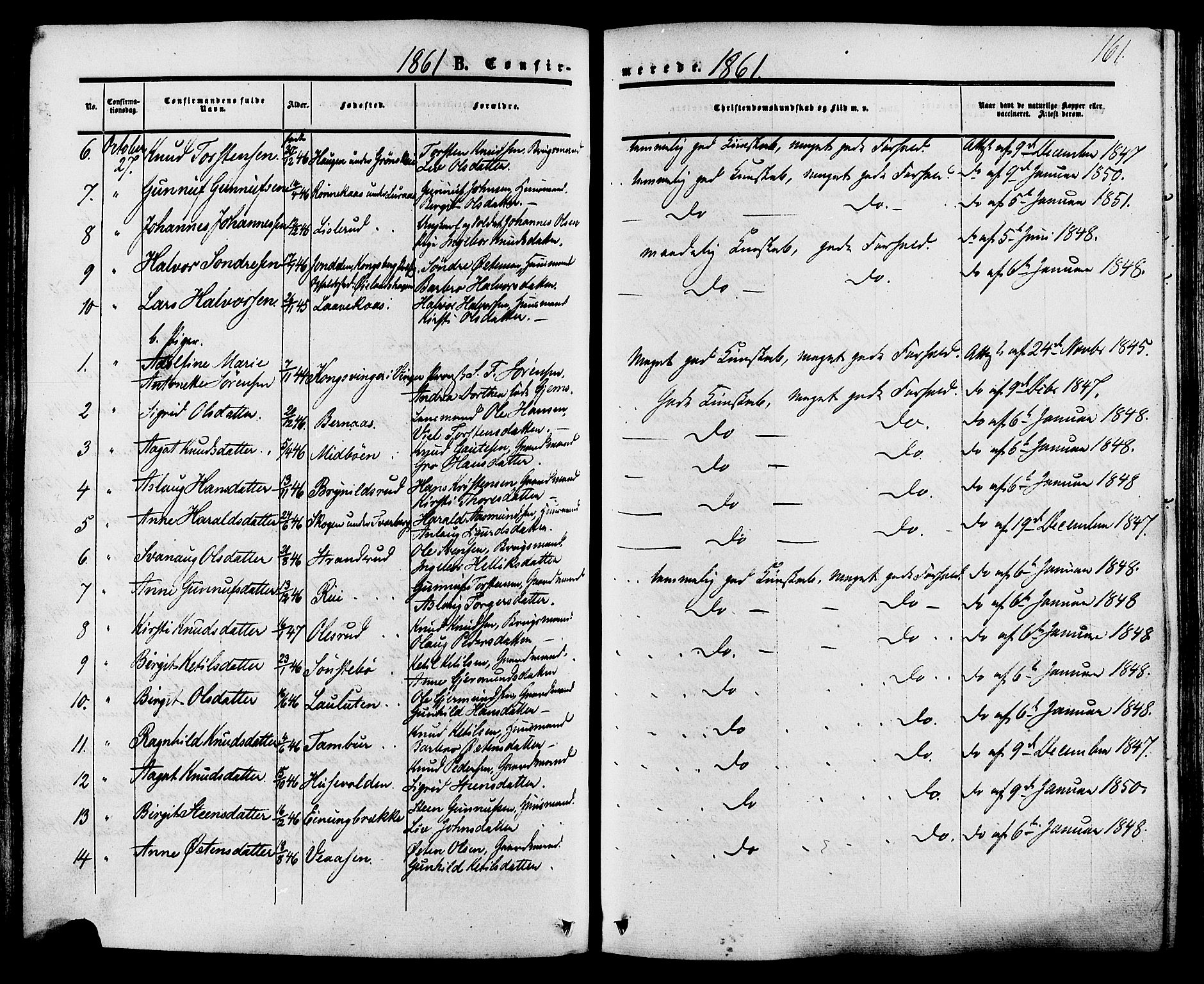 SAKO, Tinn kirkebøker, F/Fa/L0006: Ministerialbok nr. I 6, 1857-1878, s. 161