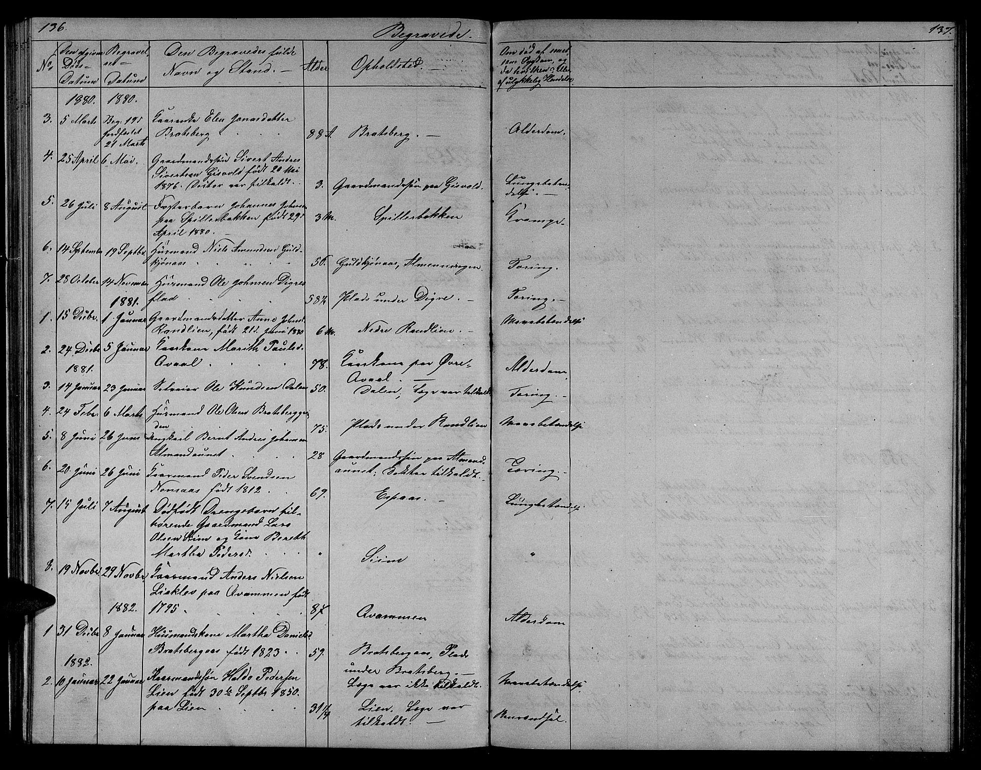 SAT, Ministerialprotokoller, klokkerbøker og fødselsregistre - Sør-Trøndelag, 608/L0340: Klokkerbok nr. 608C06, 1864-1889, s. 136-137