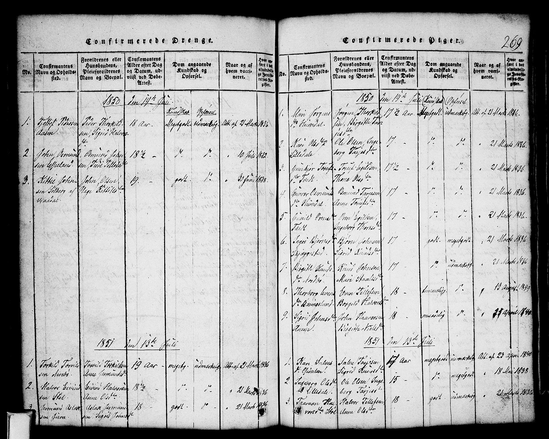 SAKO, Nissedal kirkebøker, G/Gb/L0001: Klokkerbok nr. II 1, 1814-1862, s. 269