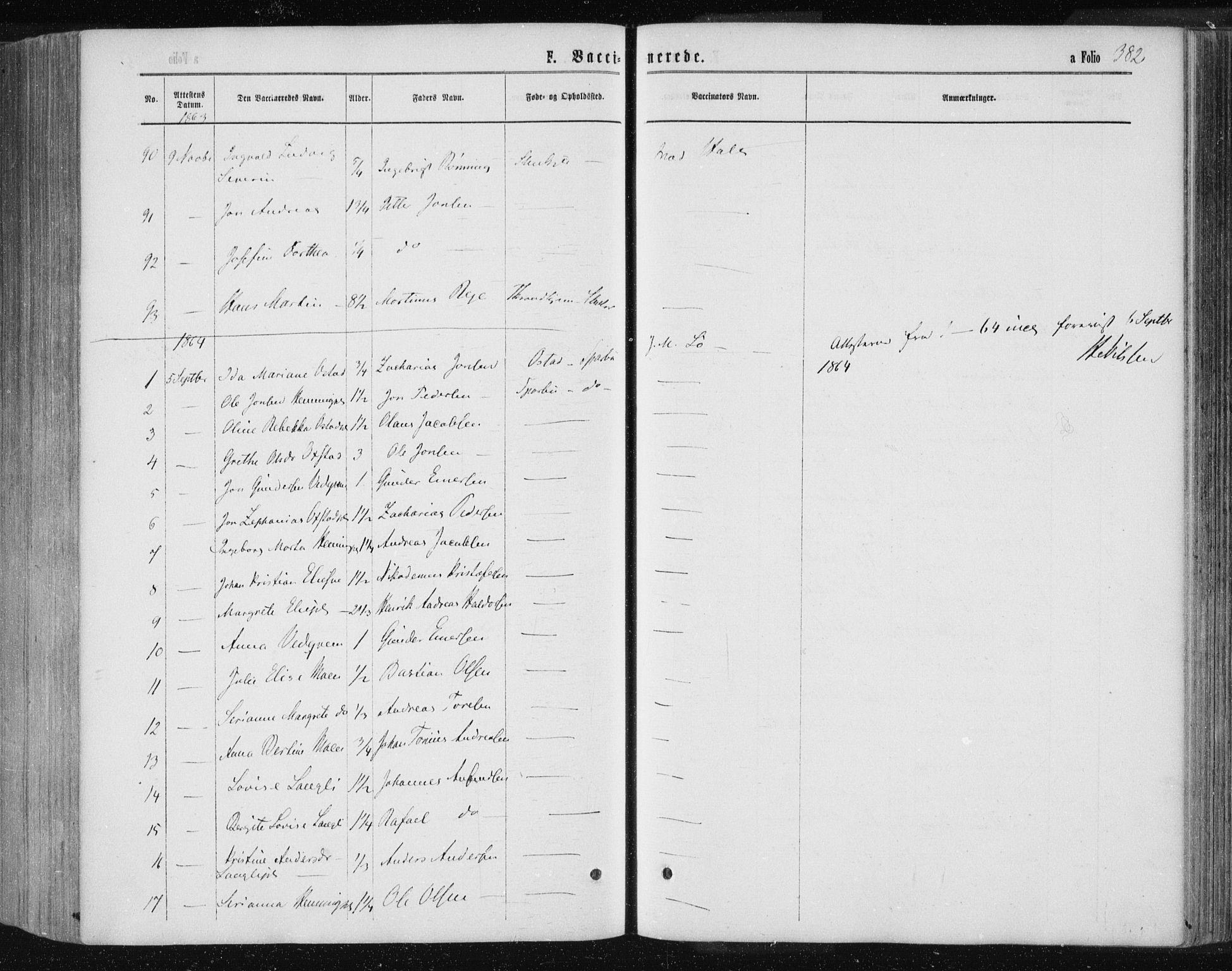 SAT, Ministerialprotokoller, klokkerbøker og fødselsregistre - Nord-Trøndelag, 735/L0345: Ministerialbok nr. 735A08 /1, 1863-1872, s. 382