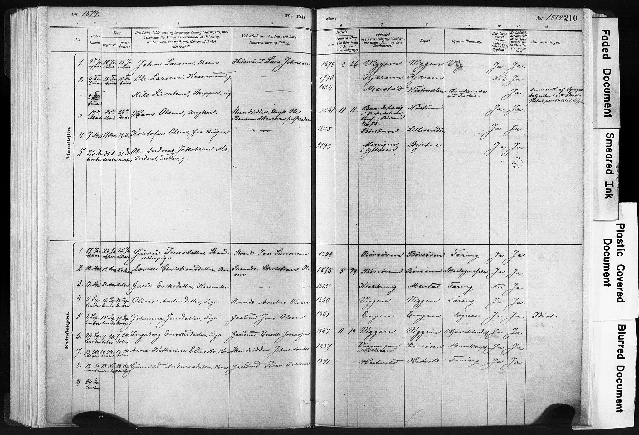 SAT, Ministerialprotokoller, klokkerbøker og fødselsregistre - Sør-Trøndelag, 665/L0773: Ministerialbok nr. 665A08, 1879-1905, s. 210