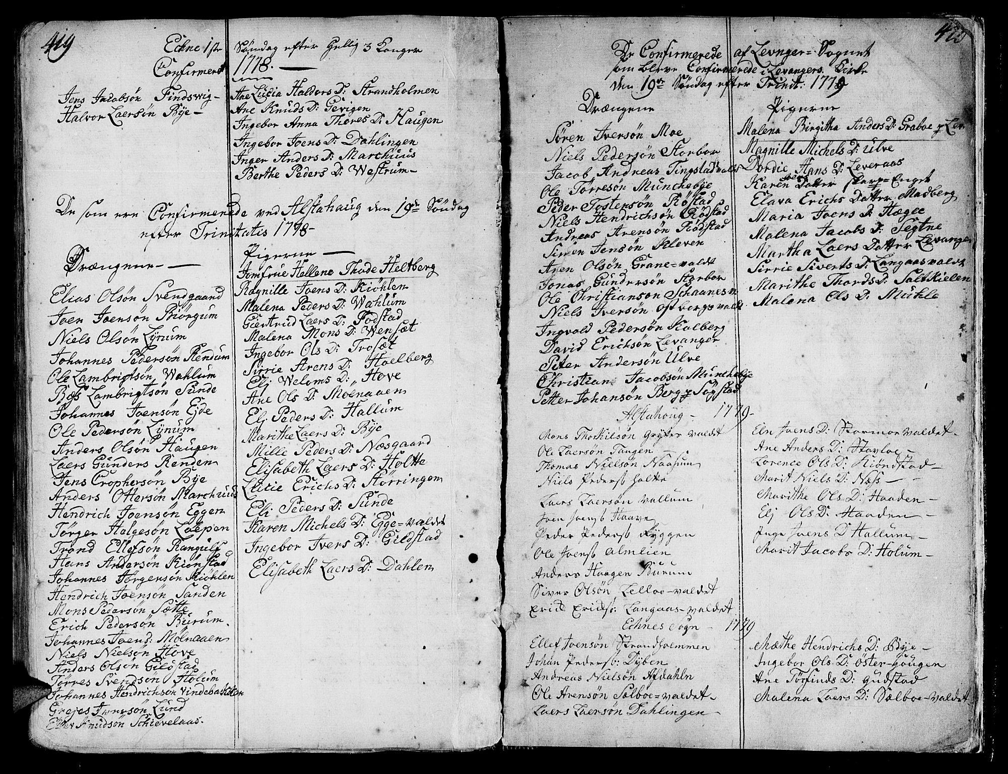 SAT, Ministerialprotokoller, klokkerbøker og fødselsregistre - Nord-Trøndelag, 717/L0141: Ministerialbok nr. 717A01, 1747-1803, s. 419-420