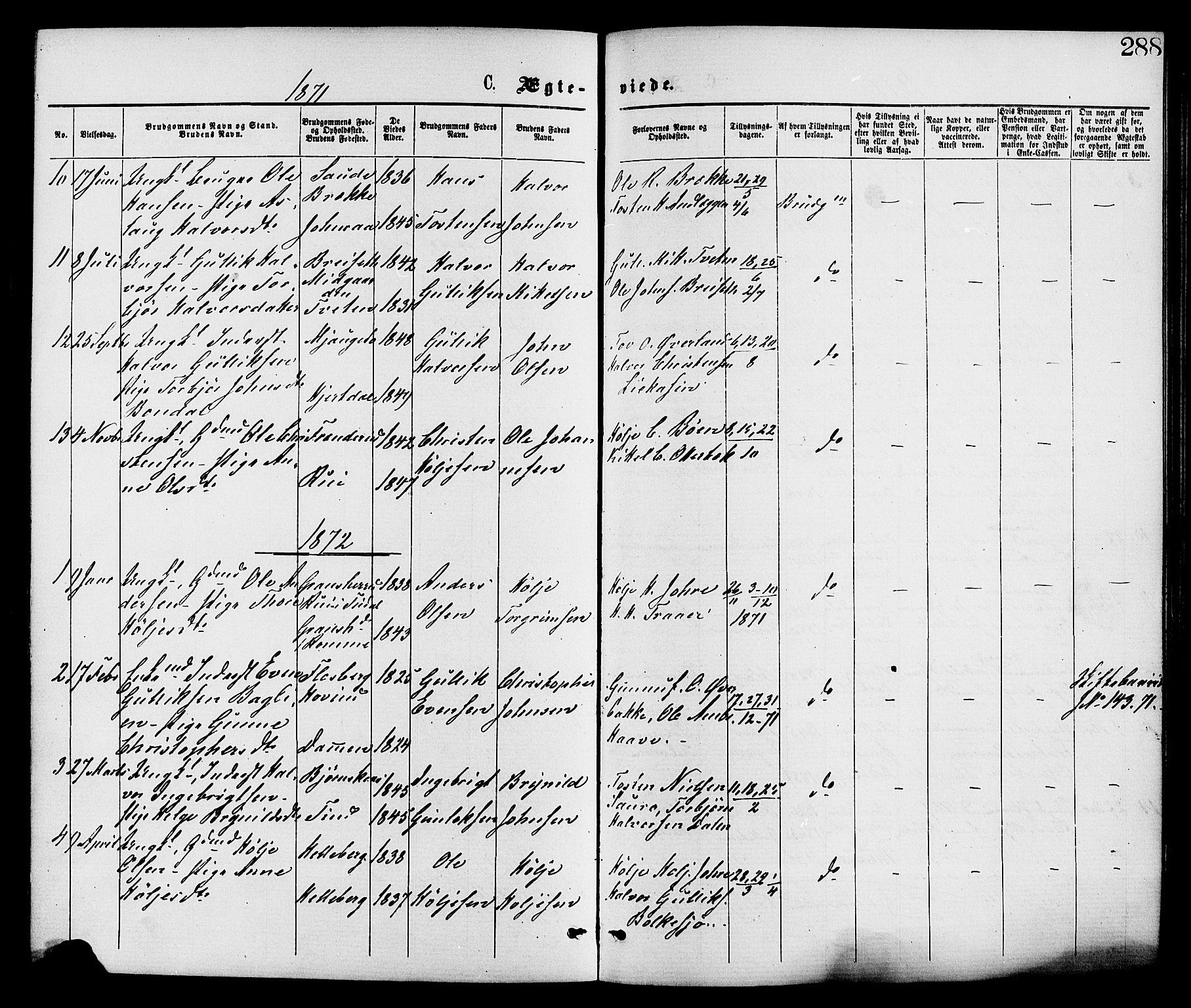 SAKO, Gransherad kirkebøker, F/Fa/L0004: Ministerialbok nr. I 4, 1871-1886, s. 288